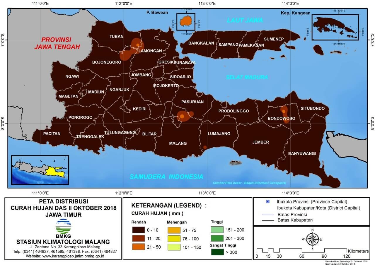 Analisis Distribusi Curah Hujan Dasarian II Oktober 2018 di Provinsi Jawa Timur
