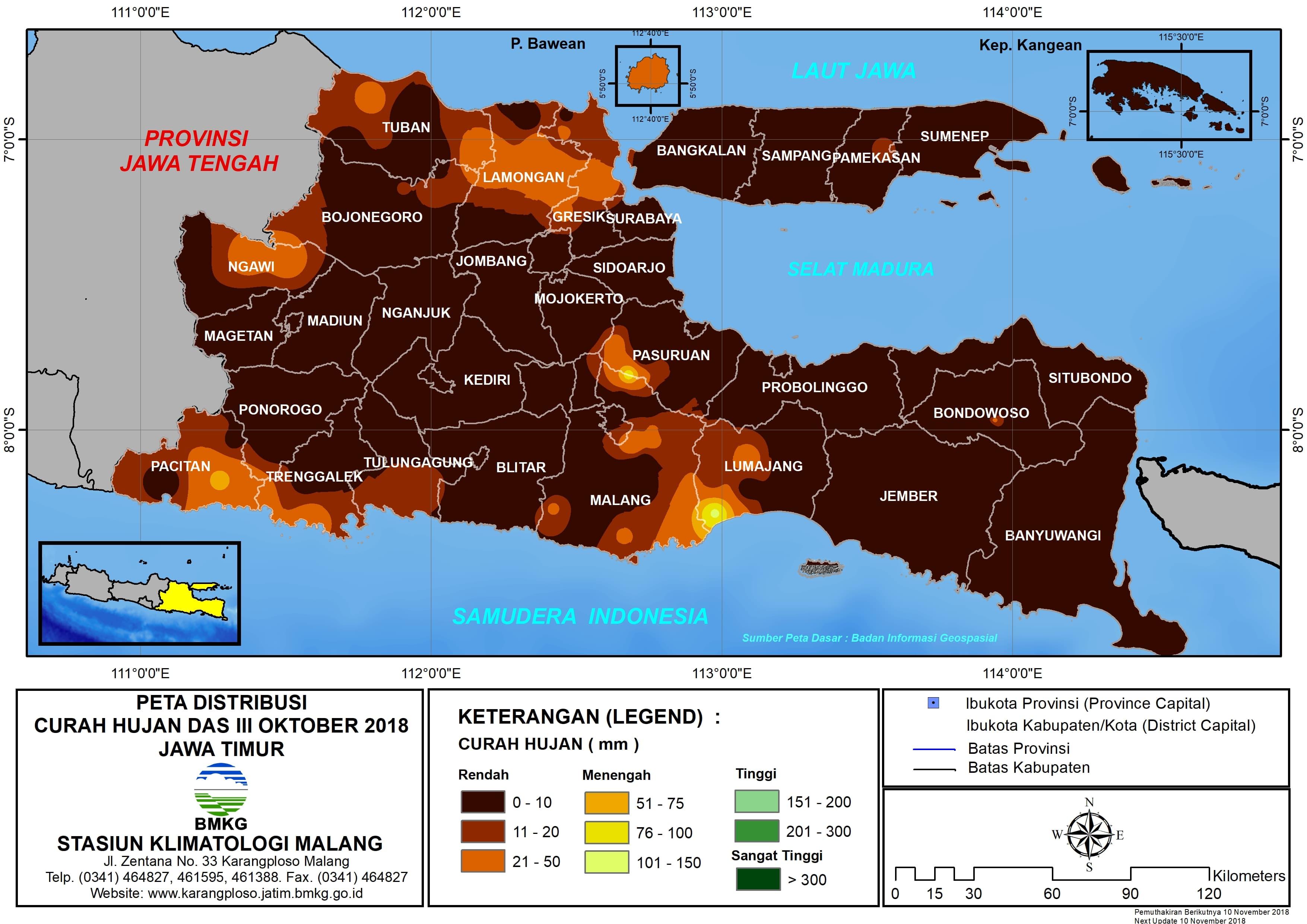 Analisis Distribusi Curah Hujan Dasarian III Oktober 2018 di Provinsi Jawa Timur