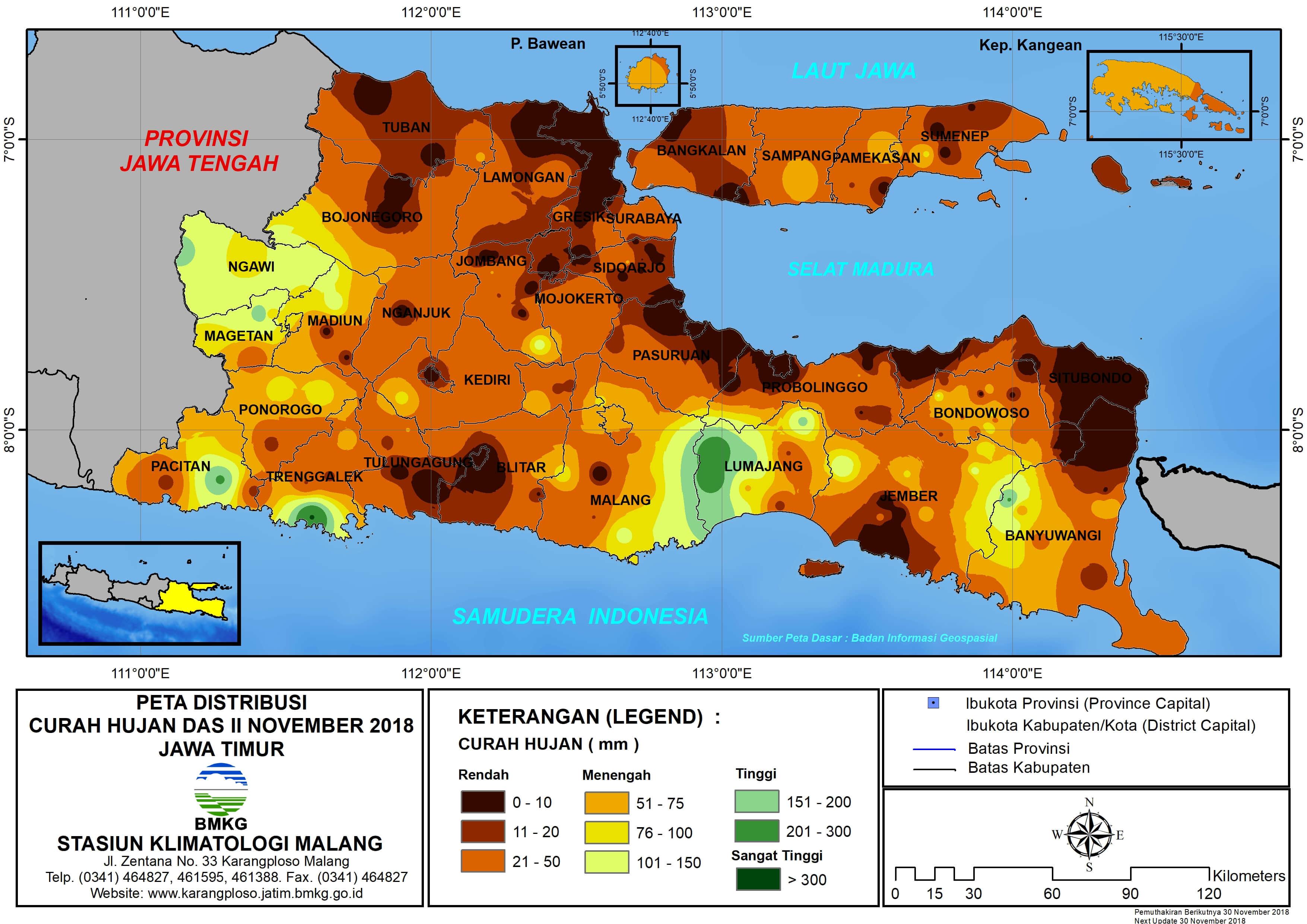 11 12 Peta Analisis Distribusi Curah Hujan Dasarian II November 2018 di Provinsi Jawa Timur