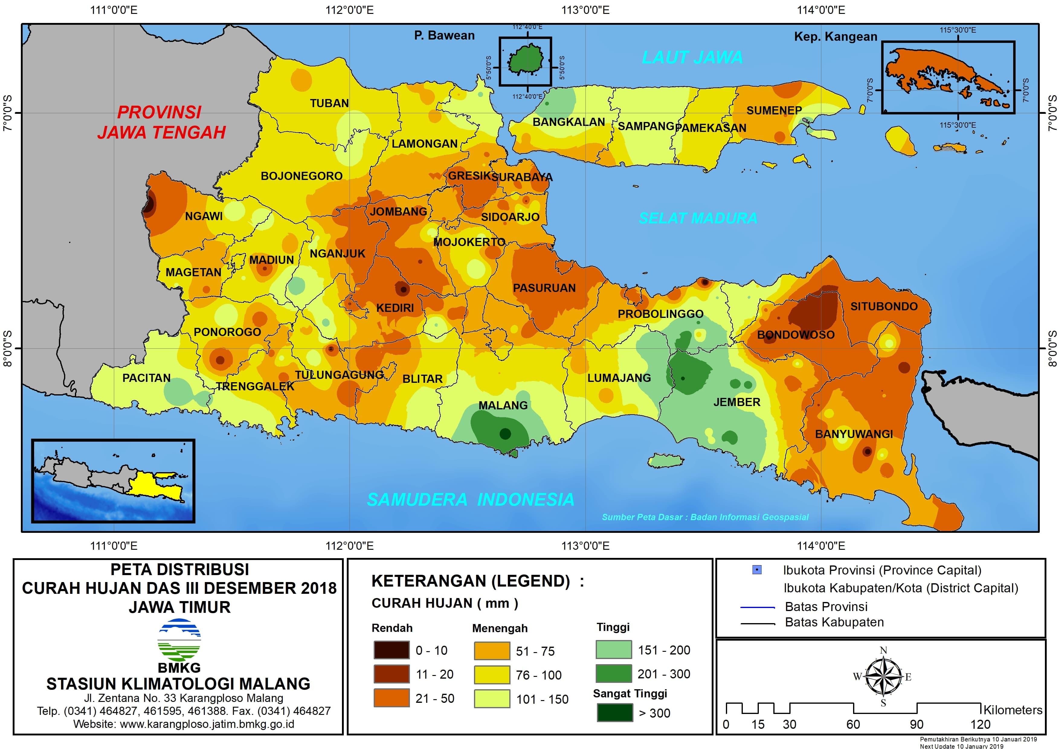 Peta Analisis Distribusi Curah Hujan Dasarian III Desember 2018 di Provinsi Jawa Timur