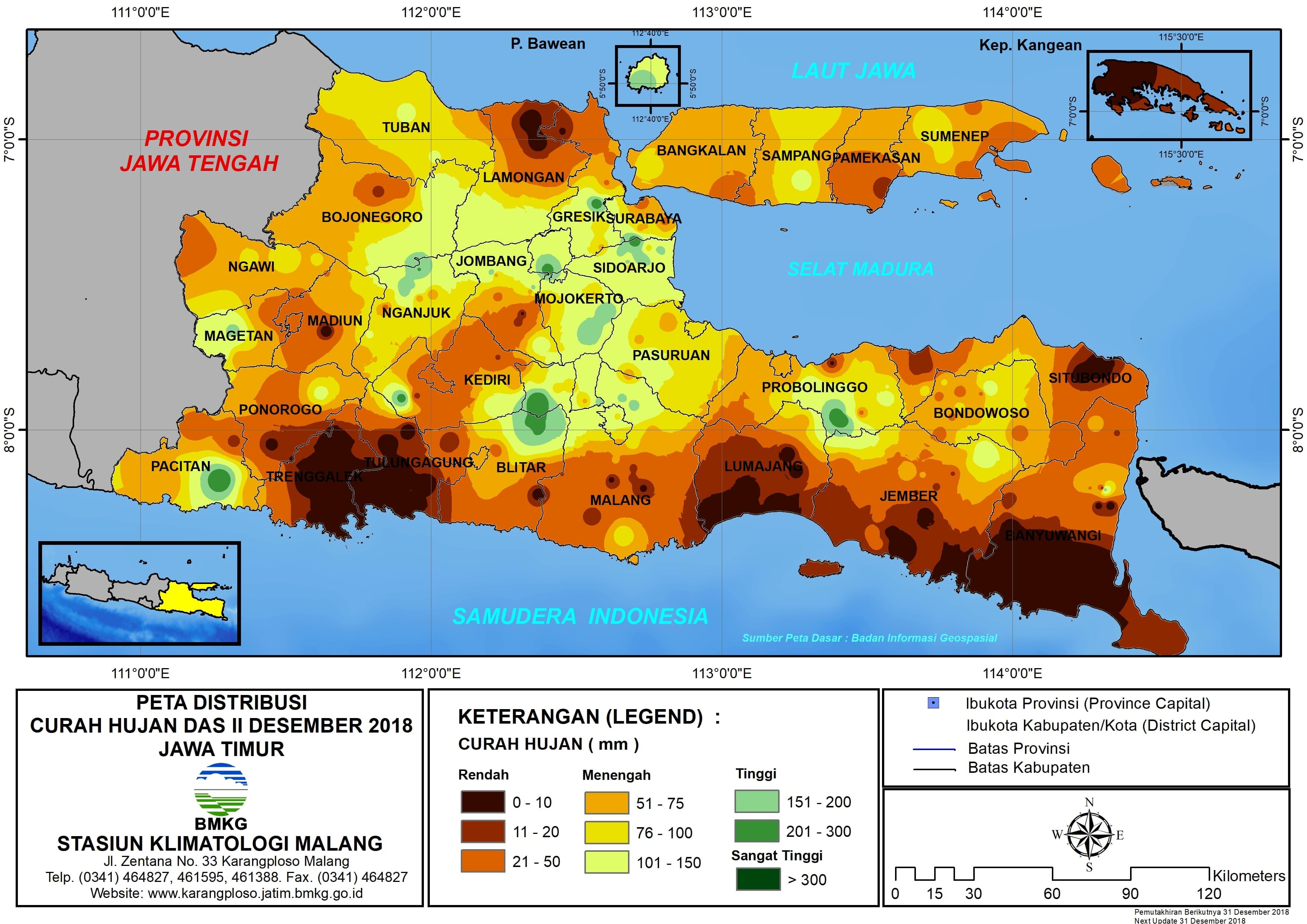 Peta Analisis Distribusi Curah Hujan Dasarian II Desember 2018 di Provinsi Jawa Timur