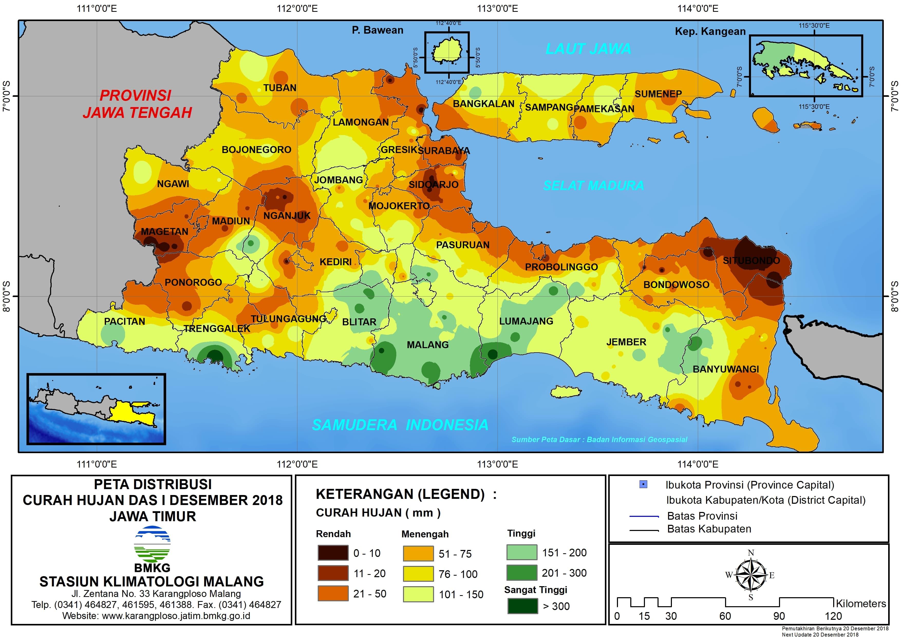 Peta Analisis Distribusi Curah Hujan Dasarian I Desember 2018 di Provinsi Jawa Timur