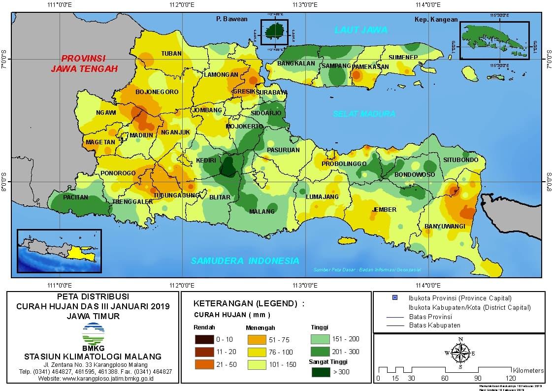 Peta Analisis Distribusi Curah Hujan Dasarian III Januari 2019 di Provinsi Jawa Timur