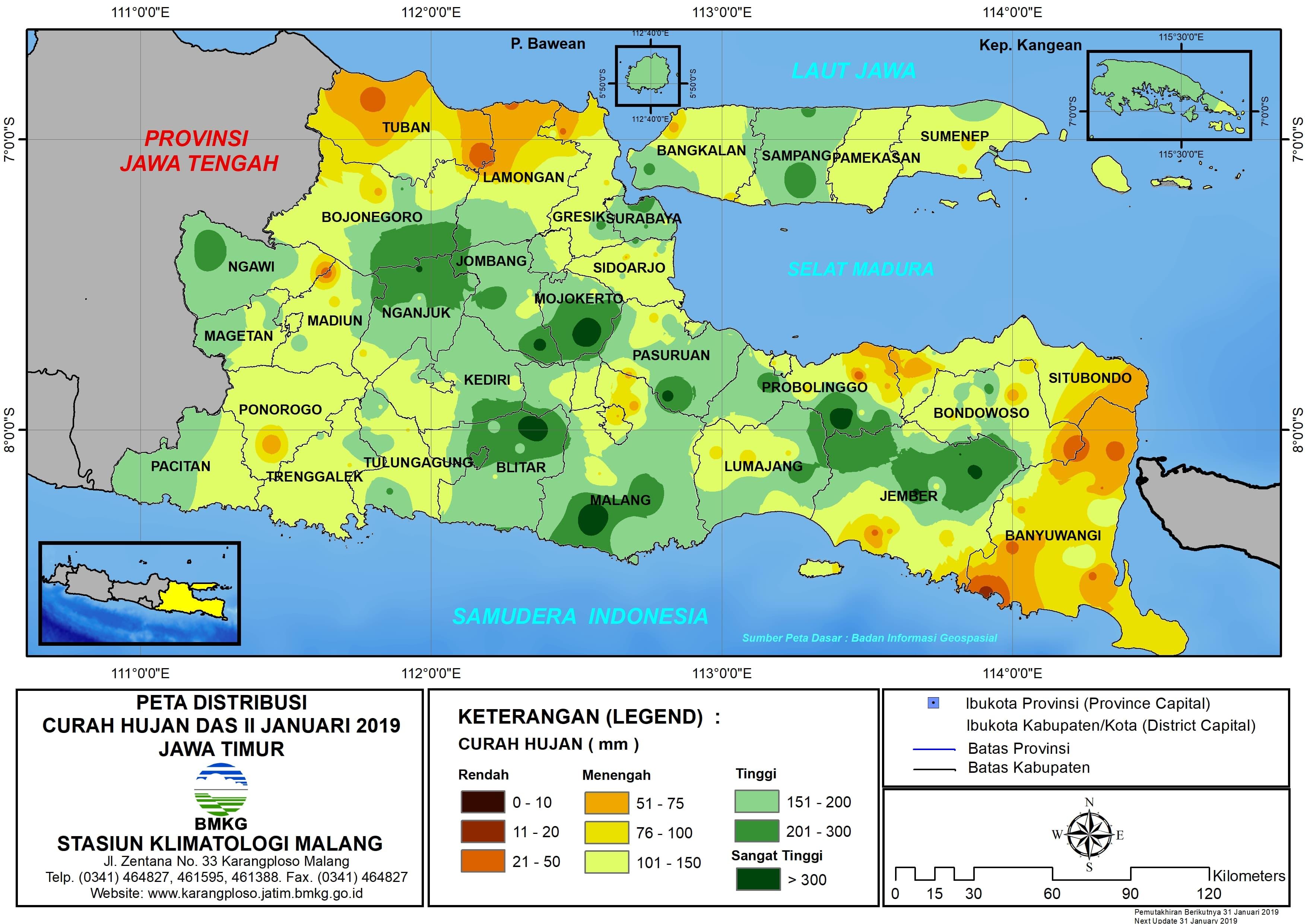 Peta Analisis Distribusi Curah Hujan Dasarian II Januari 2019 di Provinsi Jawa Timur