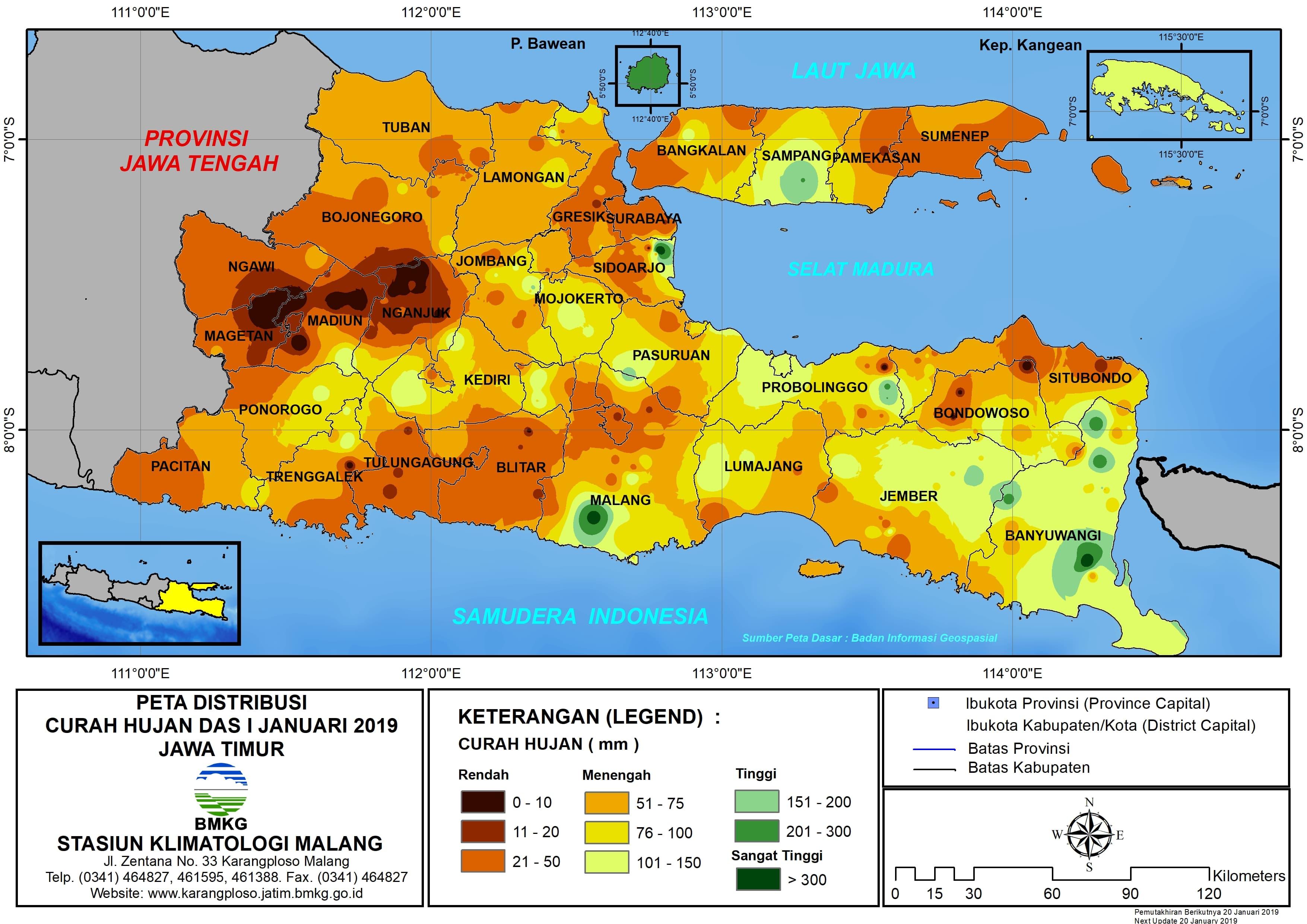 Peta Analisis Distribusi Curah Hujan Dasarian I Januari 2019 di Provinsi Jawa Timur