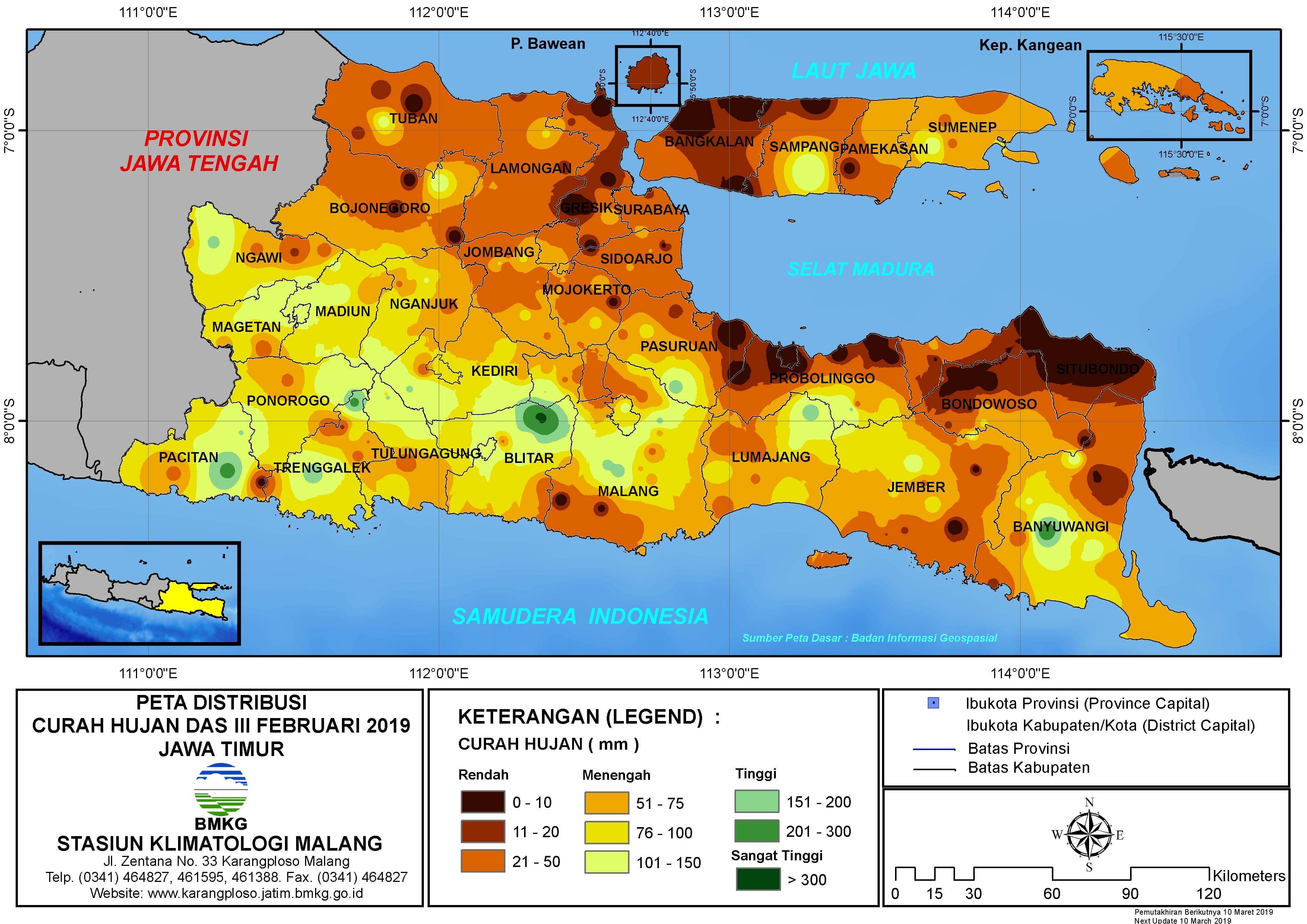 Peta Analisis Distribusi Curah Hujan Dasarian III Februari 2019 di Provinsi Jawa Timur