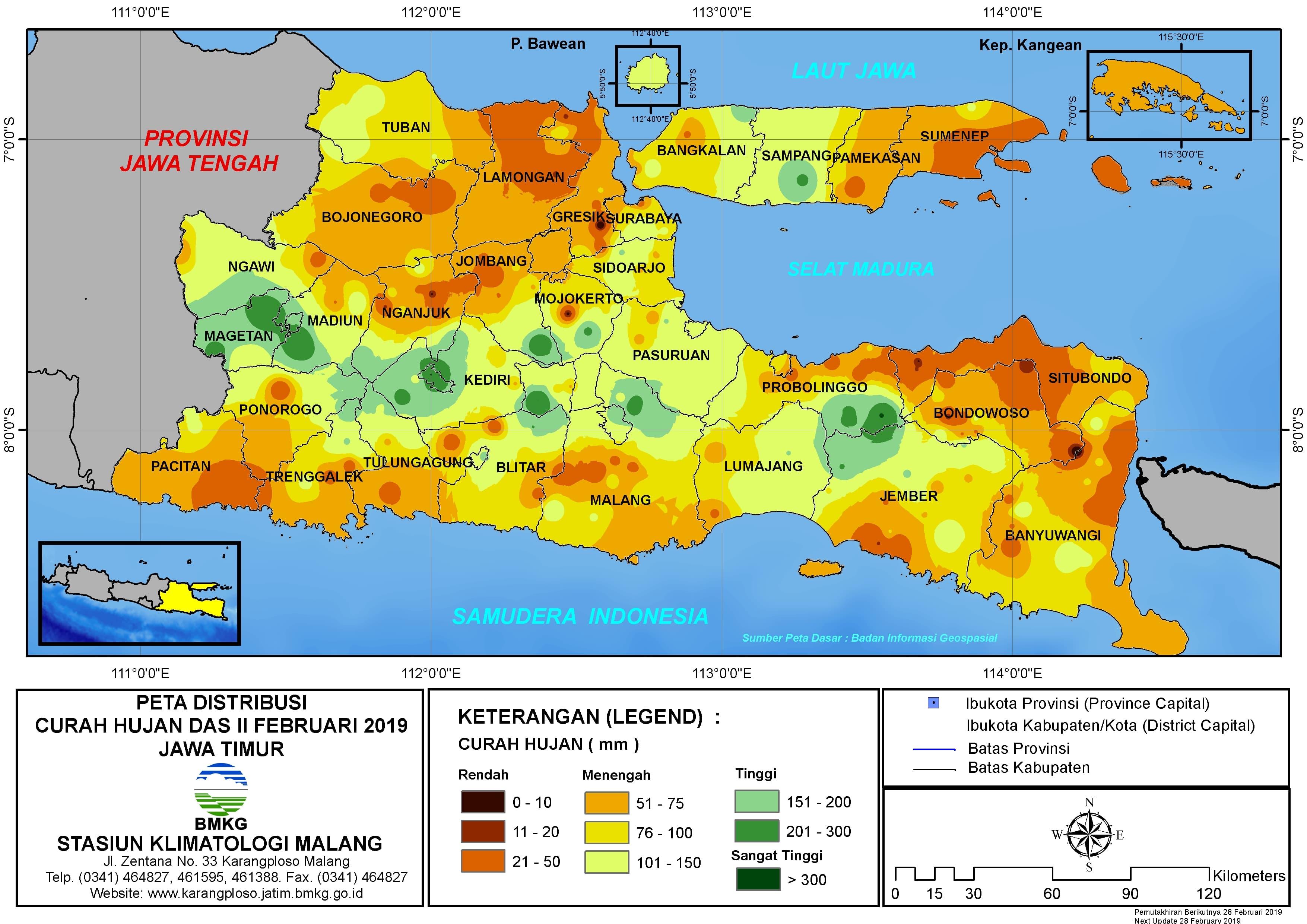 Peta Analisis Distribusi Curah Hujan Dasarian II Februari 2019 di Provinsi Jawa Timur