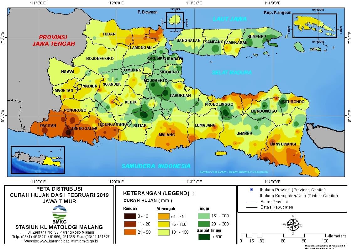 Peta Analisis Distribusi Curah Hujan Dasarian I Februari 2019 di Provinsi Jawa Timur