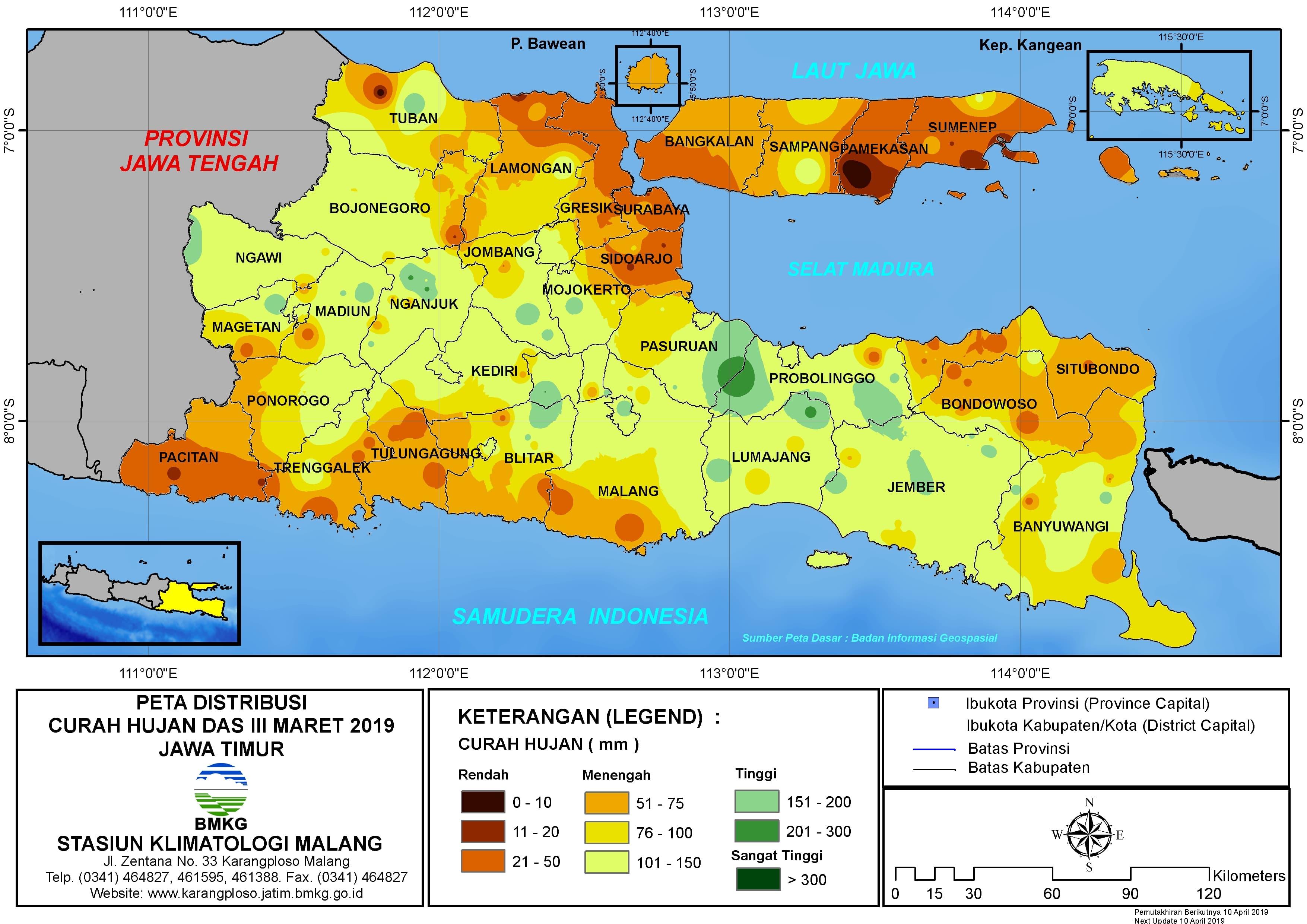 Peta Analisis Distribusi Curah Hujan Dasarian III Maret 2019 di Provinsi Jawa Timur