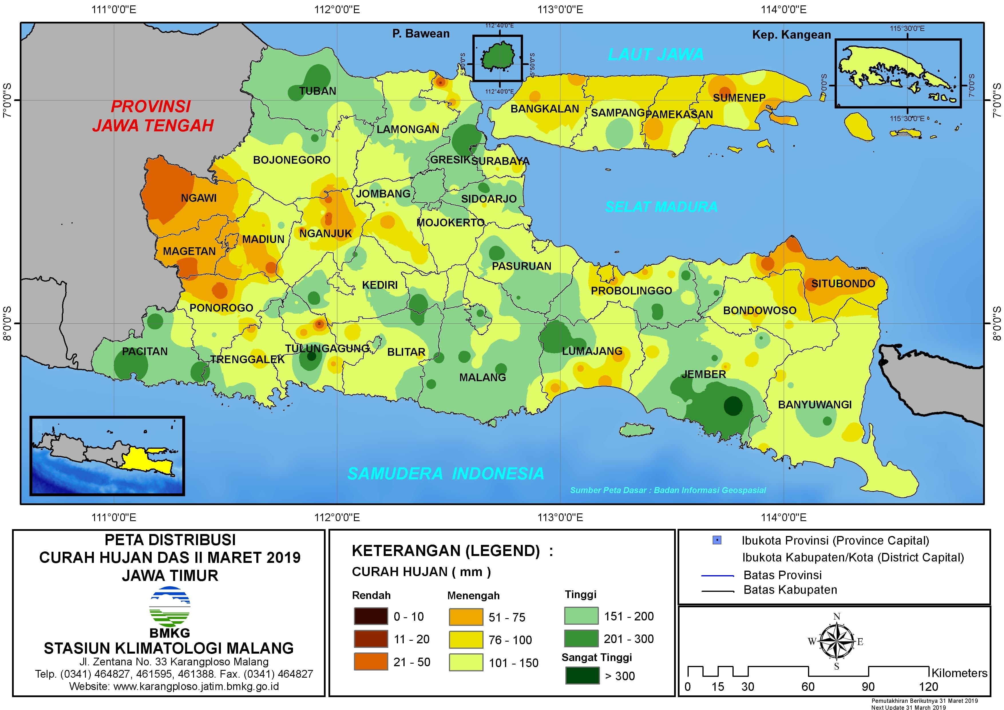 Peta Analisis Distribusi Curah Hujan Dasarian II Maret 2019 di Provinsi Jawa Timur