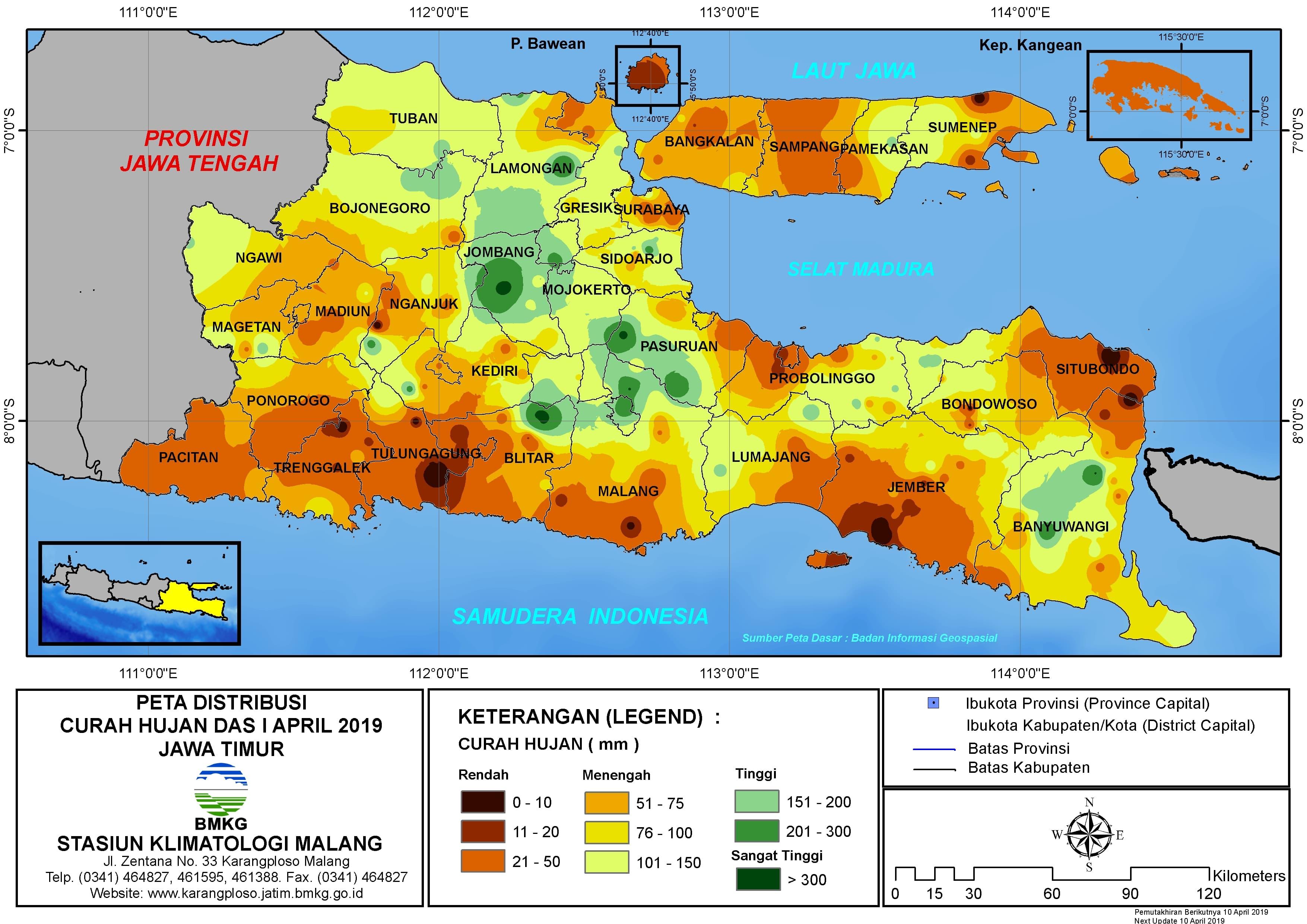 Peta Analisis Distribusi Curah Hujan Dasarian I April 2019 di Provinsi Jawa Timur