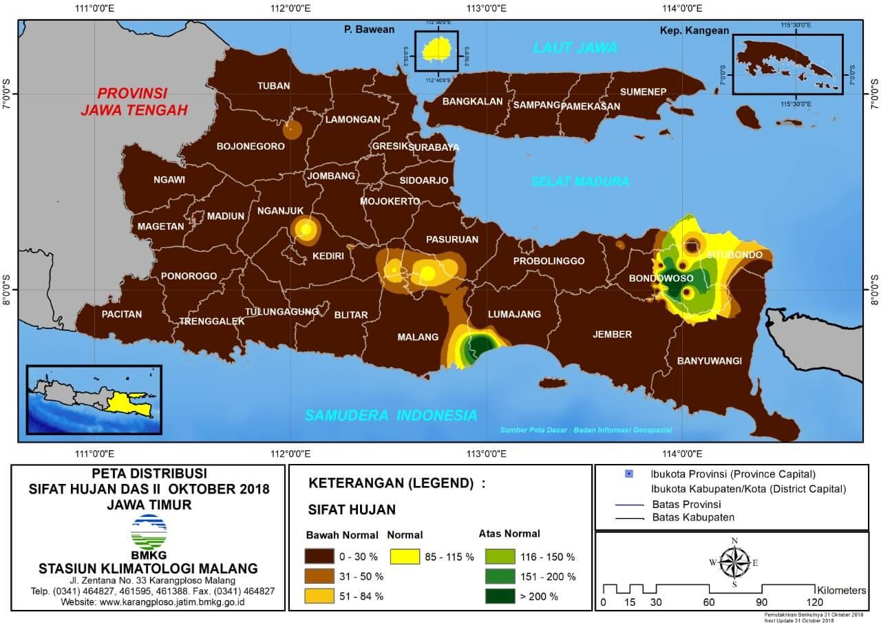 Analisis Distribusi Sifat Hujan Dasarian II Oktober 2018 di Provinsi Jawa Timur