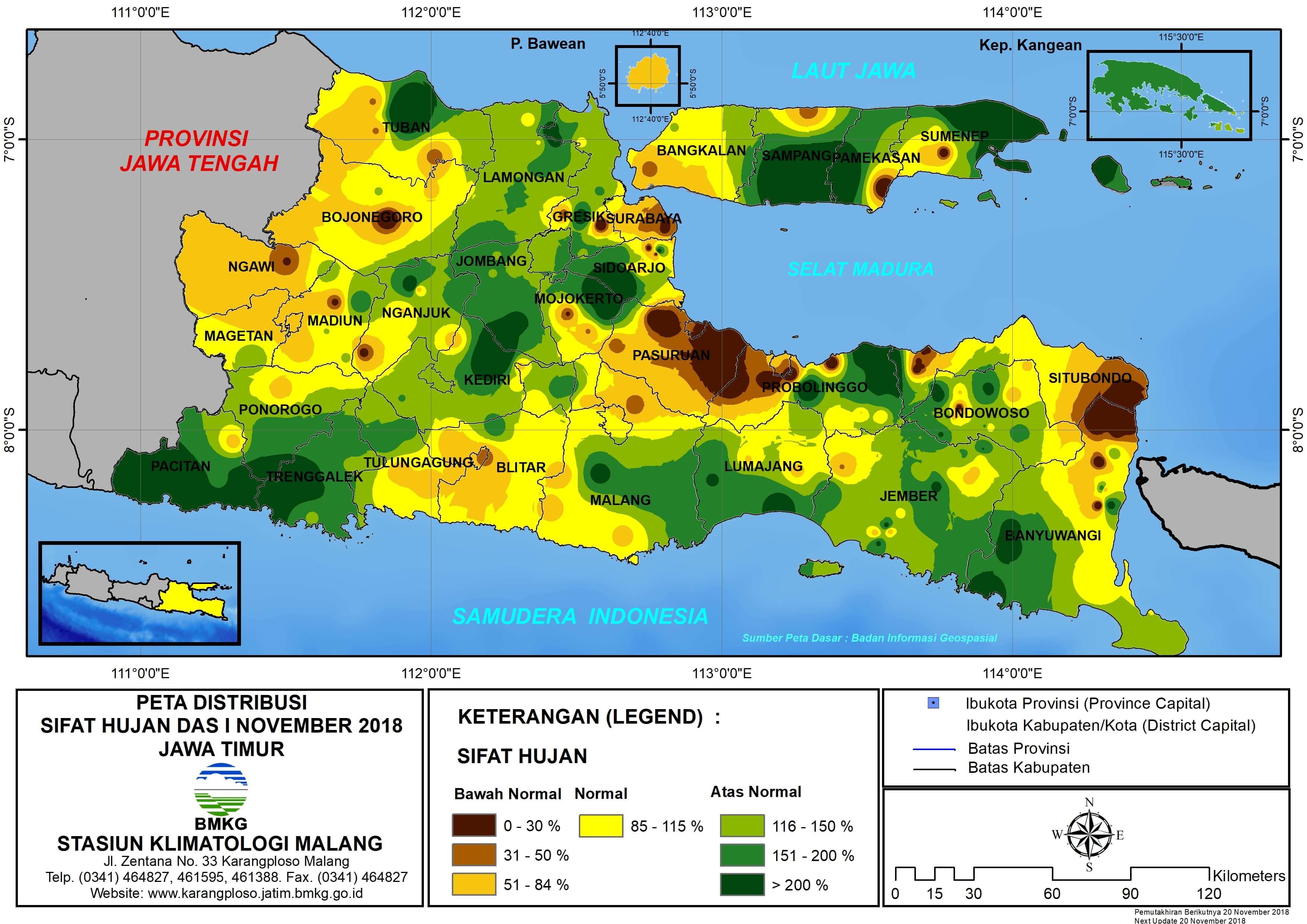Analisis Distribusi Sifat Hujan Dasarian I November 2018 di Provinsi Jawa Timur