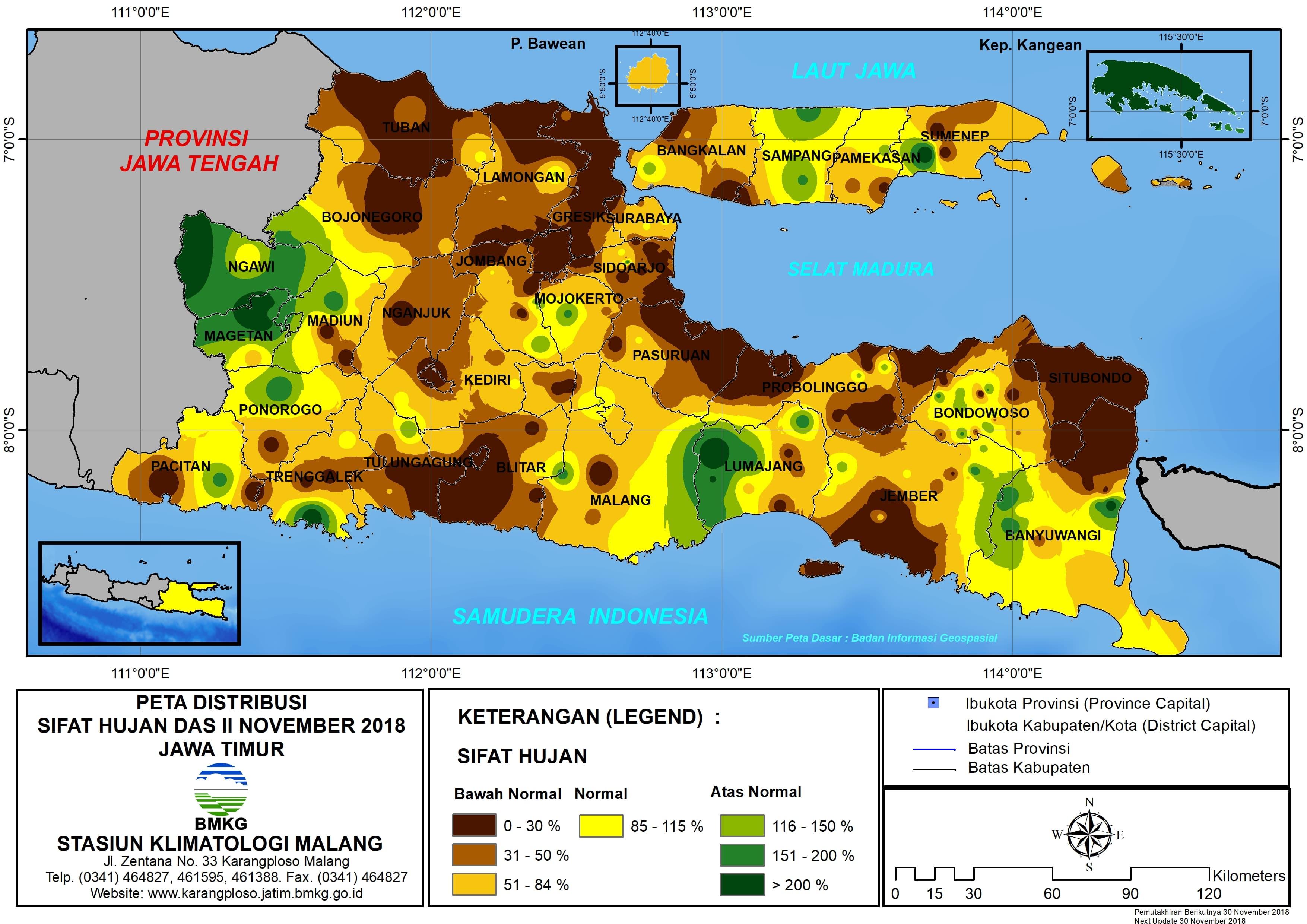 Peta Analisis Distribusi Sifat Hujan Dasarian II November 2018 di Provinsi Jawa Timur