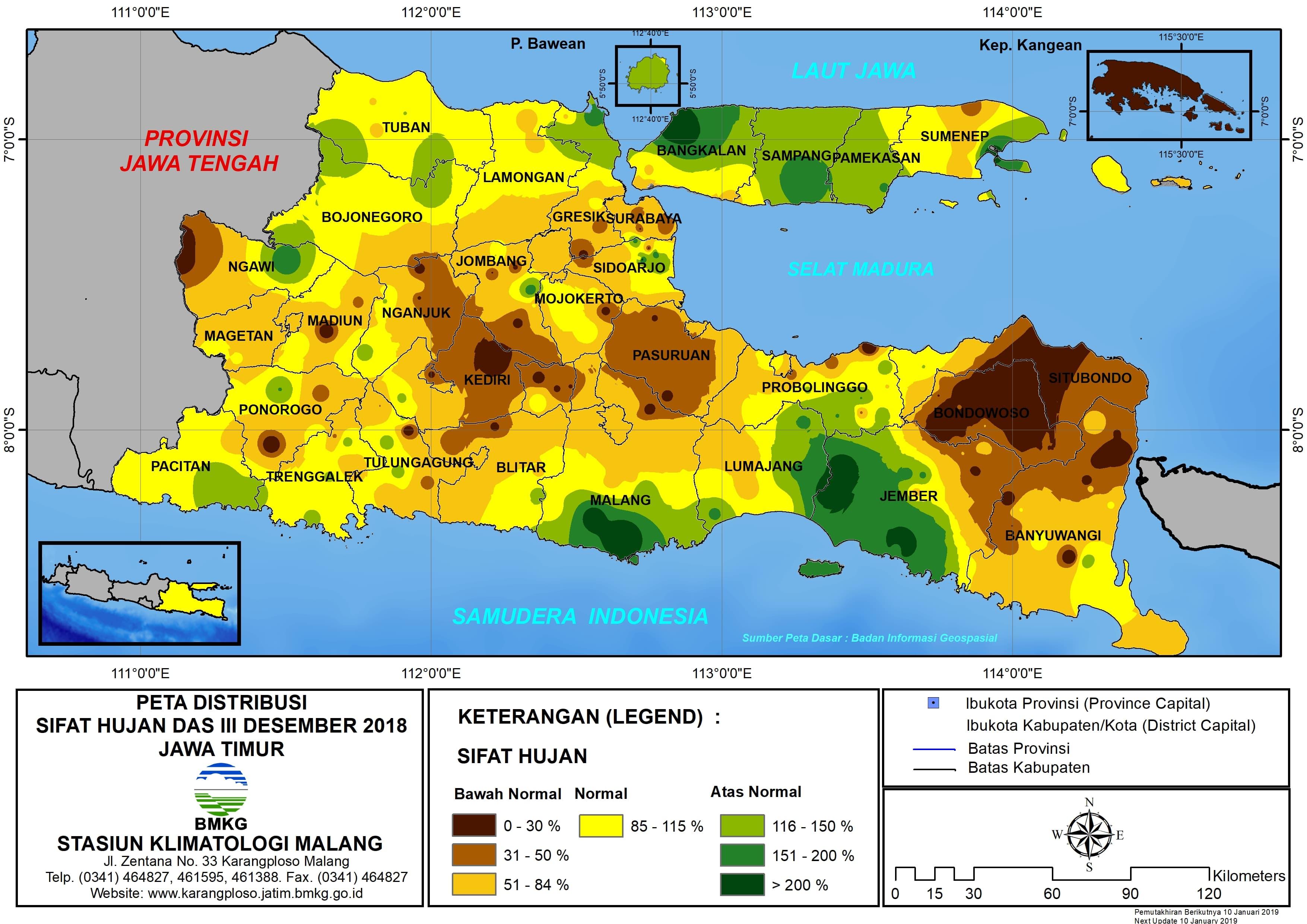 Peta Analisis Distribusi Sifat Hujan Dasarian III Desember 2018 di Provinsi Jawa Timur