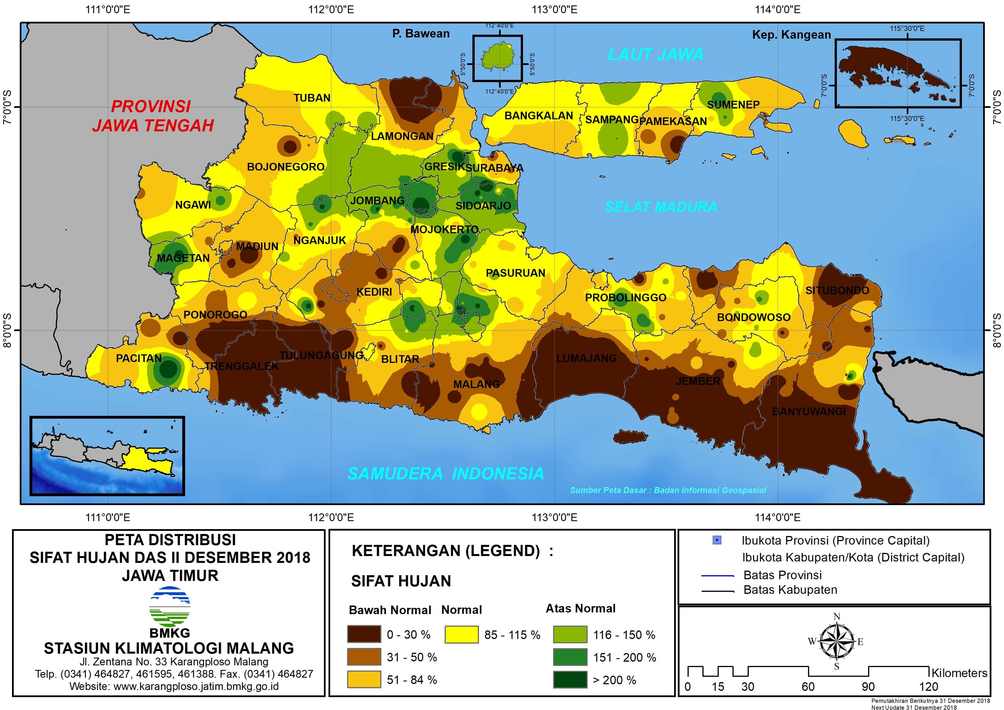 Peta Analisis Distribusi Sifat Hujan Dasarian II Desember 2018 di Provinsi Jawa Timur