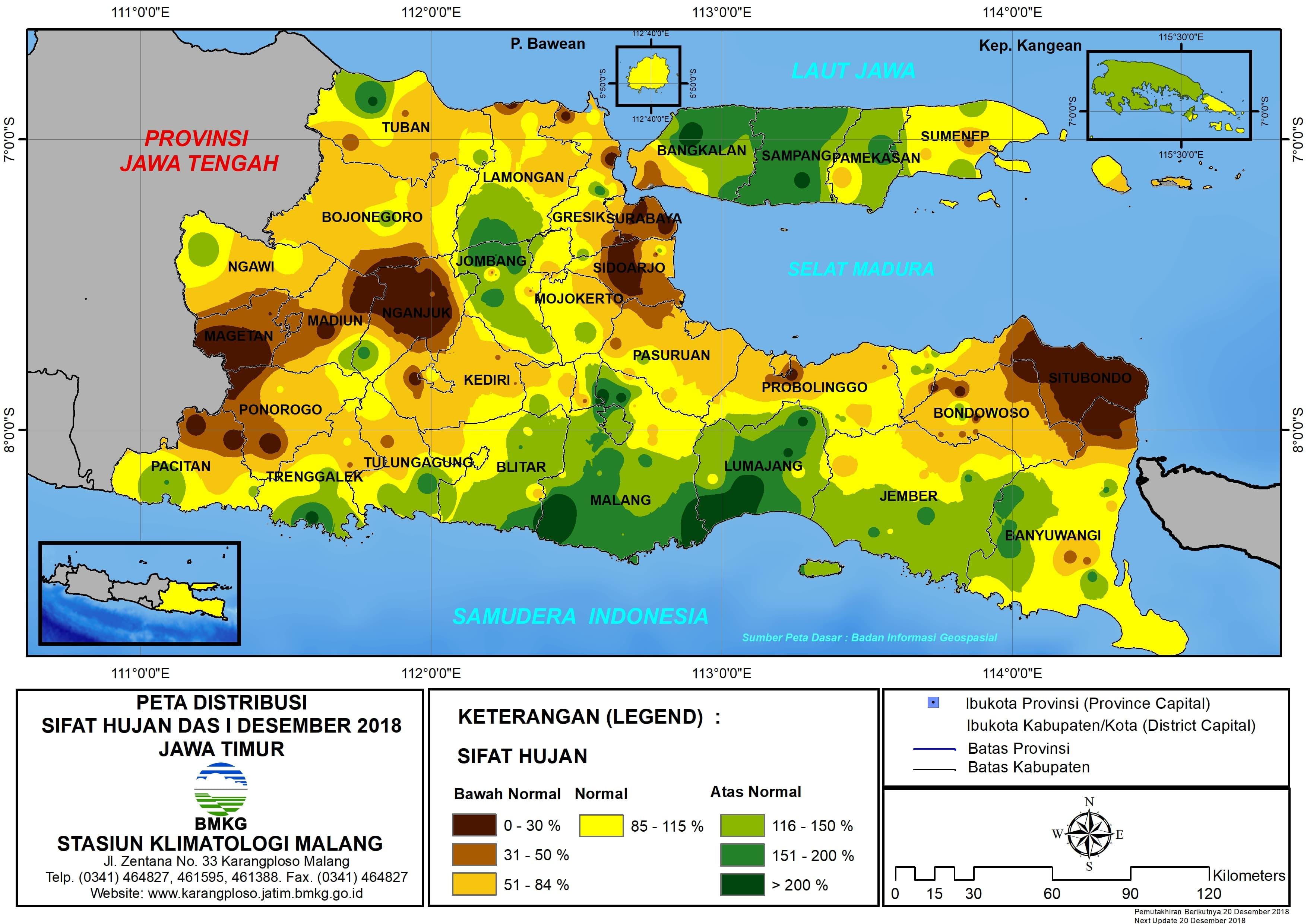 Peta Analisis Distribusi Sifat Hujan Dasarian I Desember 2018 di Provinsi Jawa Timur