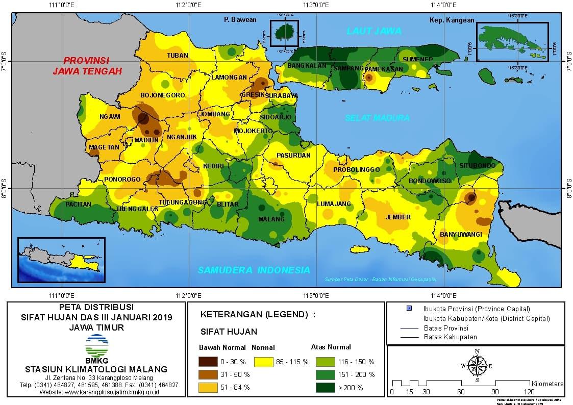 Peta Analisis Distribusi Sifat Hujan Dasarian III Januari 2019 di Provinsi Jawa Timur
