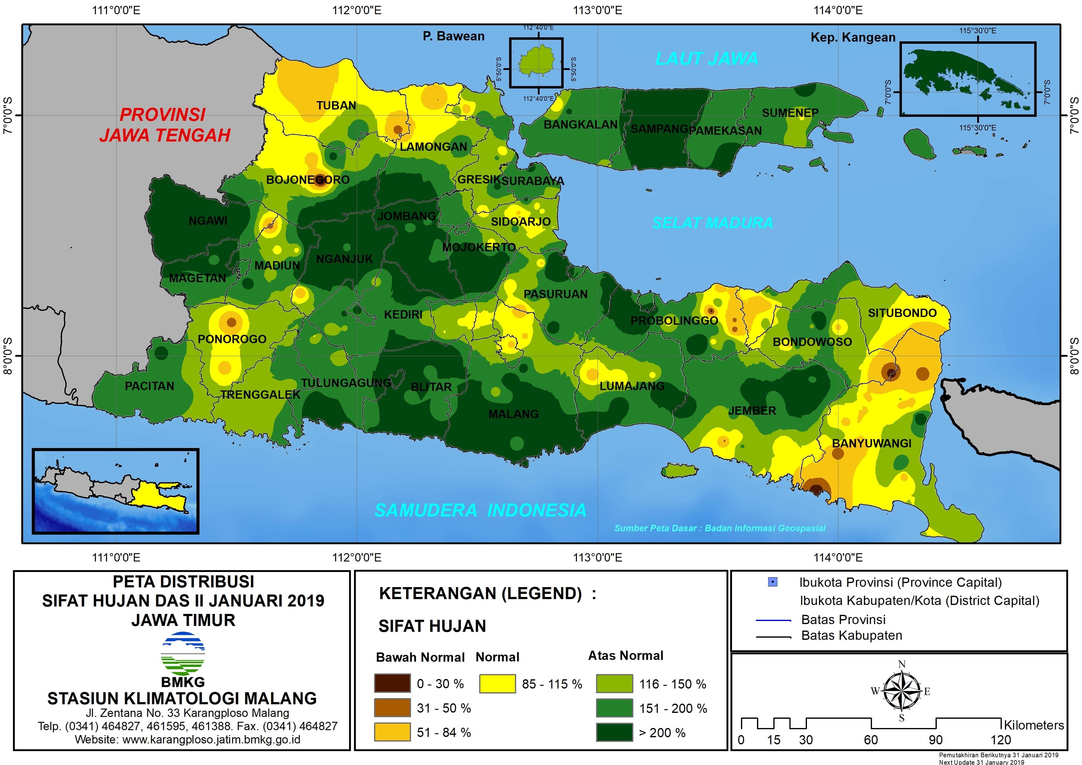 Peta Analisis Distribusi Sifat Hujan Dasarian II Januari 2019 di Provinsi Jawa Timur