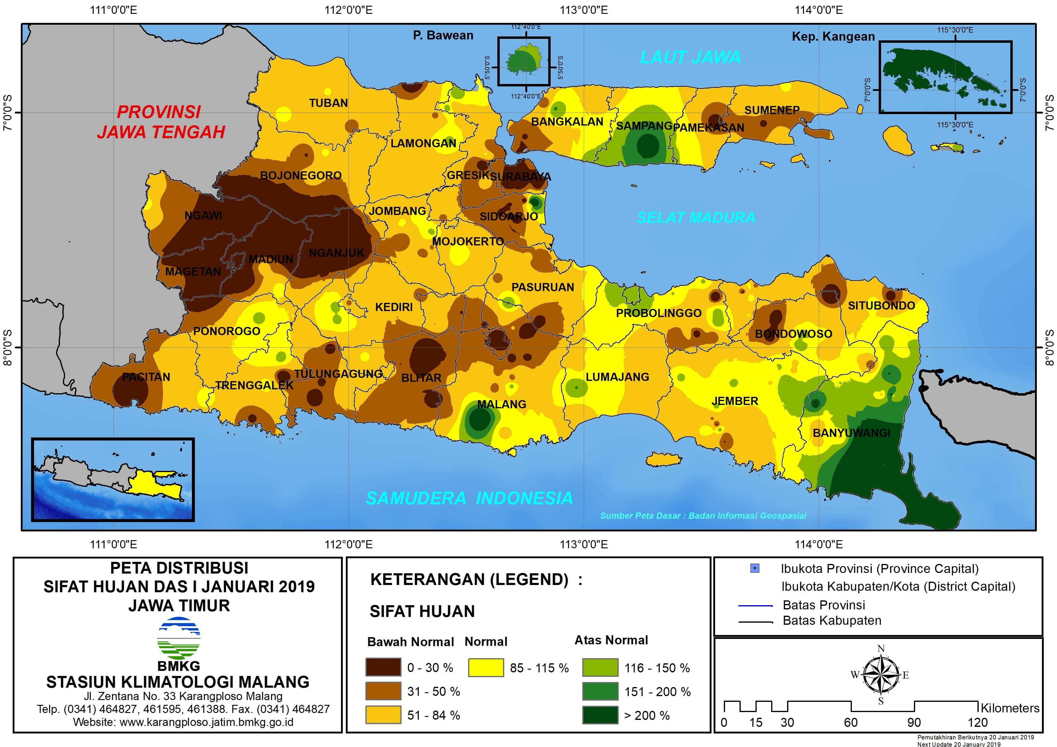 Peta Analisis Distribusi Sifat Hujan Dasarian I Januari 2019 di Provinsi Jawa Timur