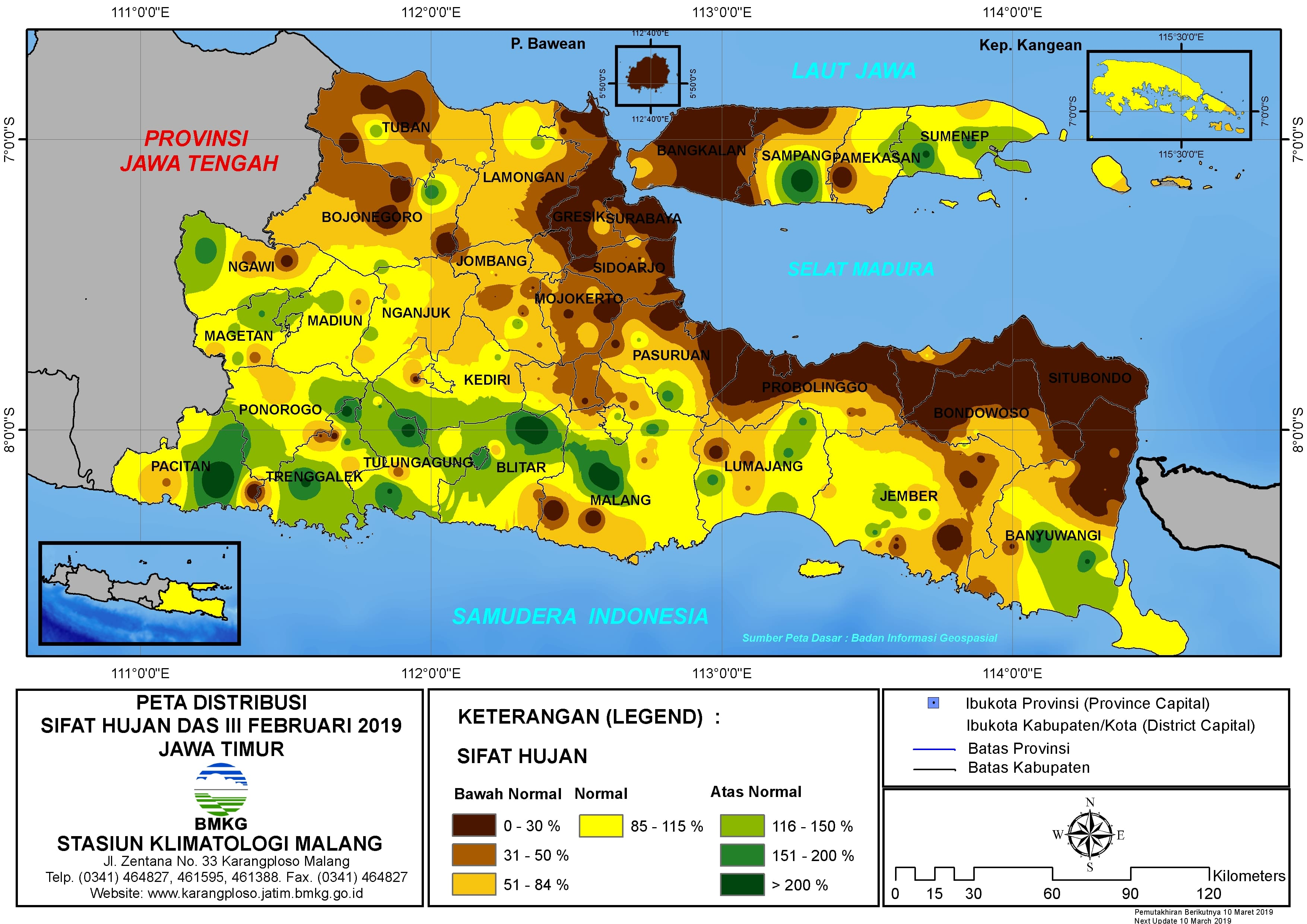 Peta Analisis Distribusi Sifat Hujan Dasarian III Februari 2019 di Provinsi Jawa Timur