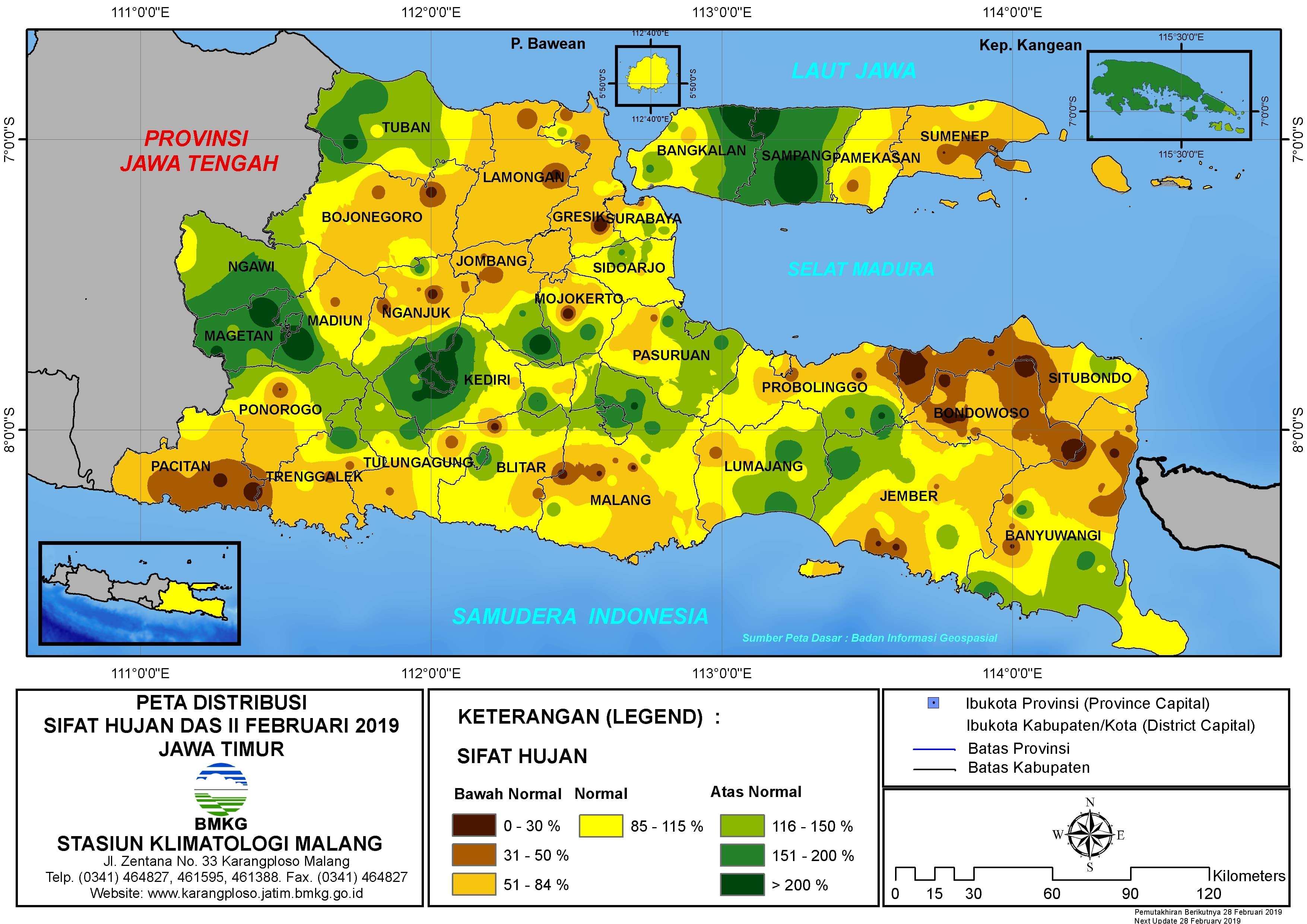 Peta Analisis Distribusi Sifat Hujan Dasarian II Februari 2019 di Provinsi Jawa Timur