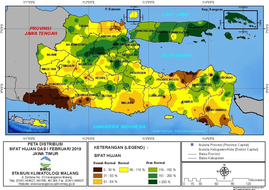 Peta Analisis Distribusi Sifat Hujan Dasarian I Februari 2019 di Provinsi Jawa Timur