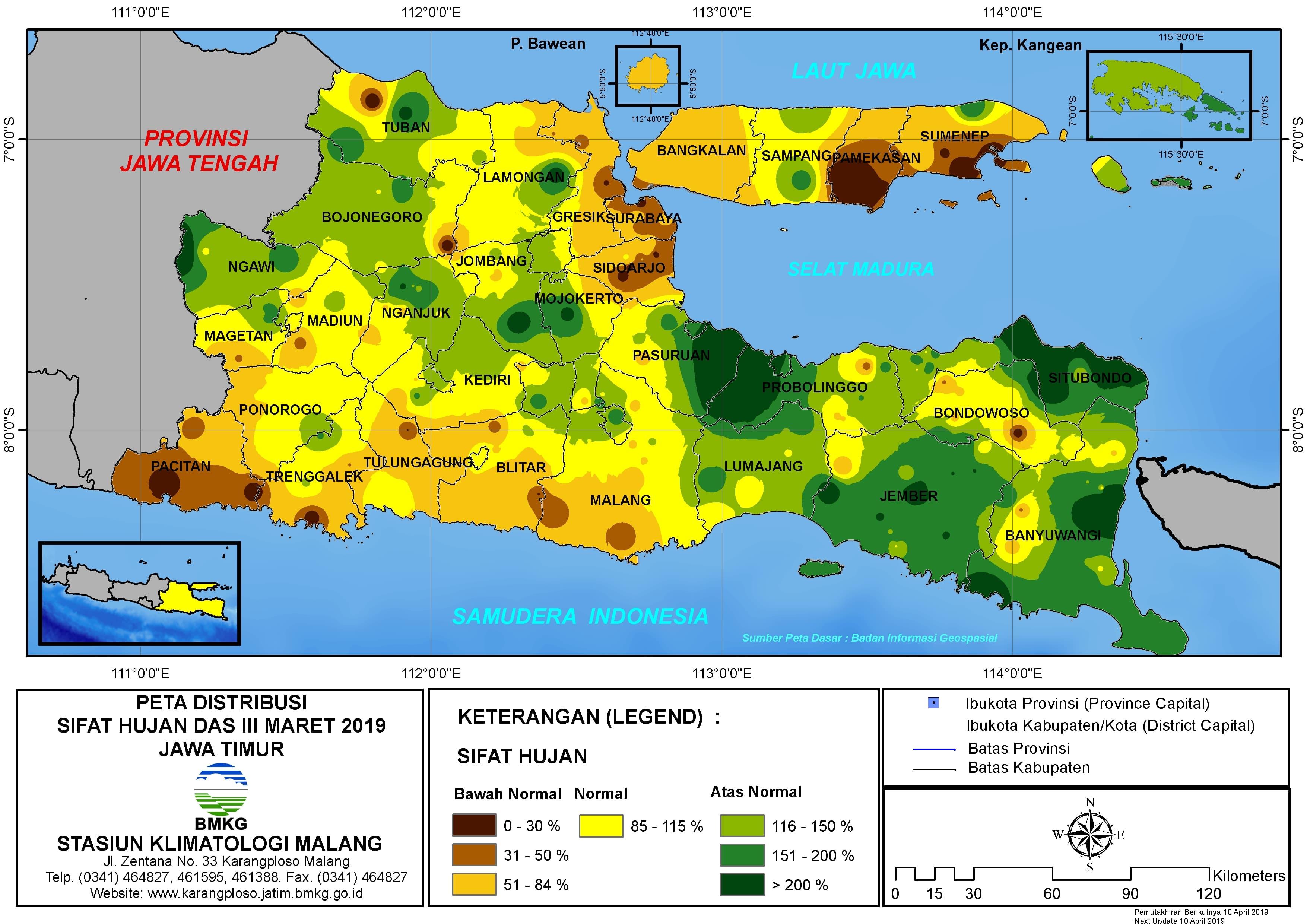 Peta Analisis Distribusi Sifat Hujan Dasarian III Maret 2019 di Provinsi Jawa Timur