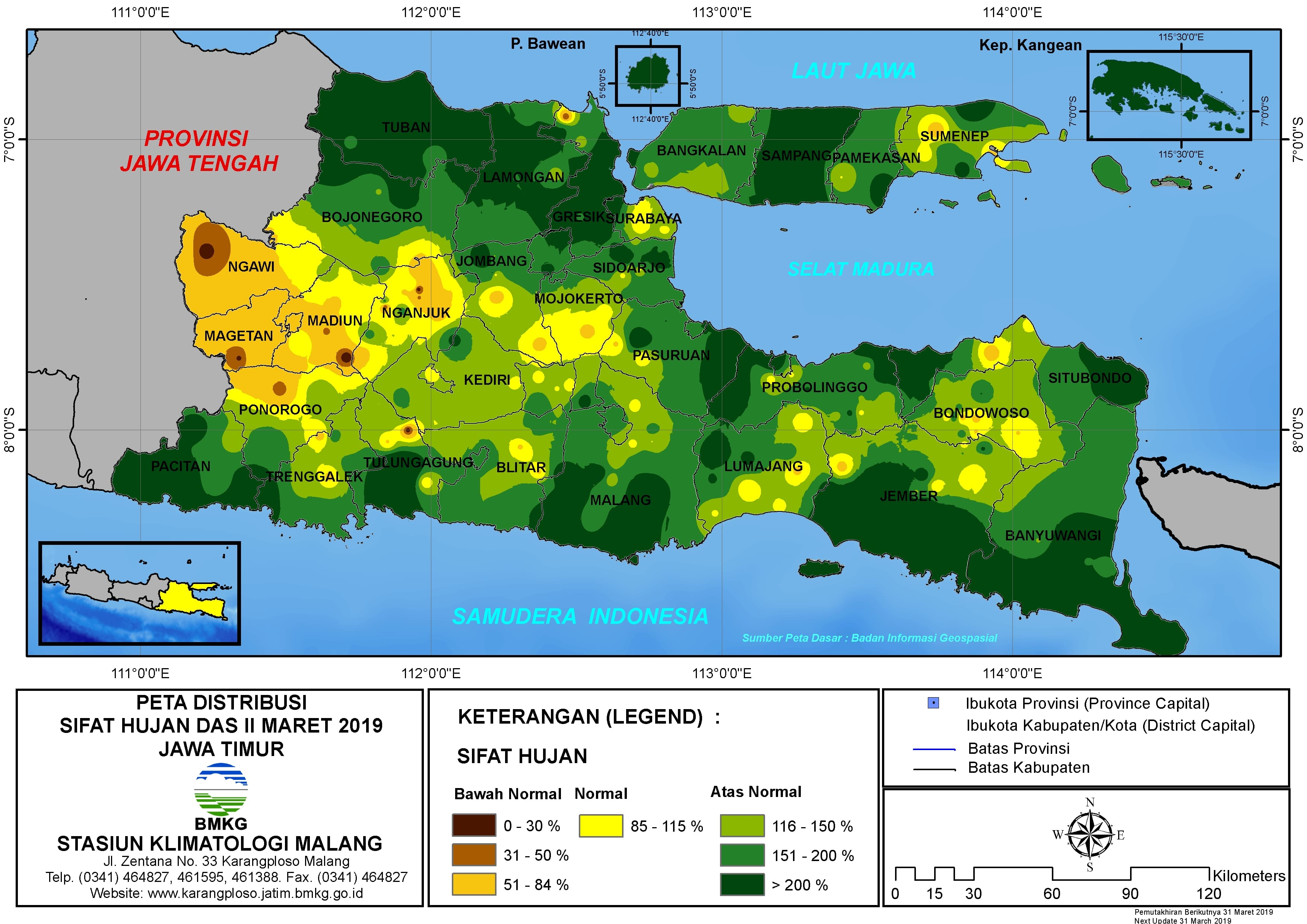 Peta Analisis Distribusi Sifat Hujan Dasarian II Maret 2019 di Provinsi Jawa Timur