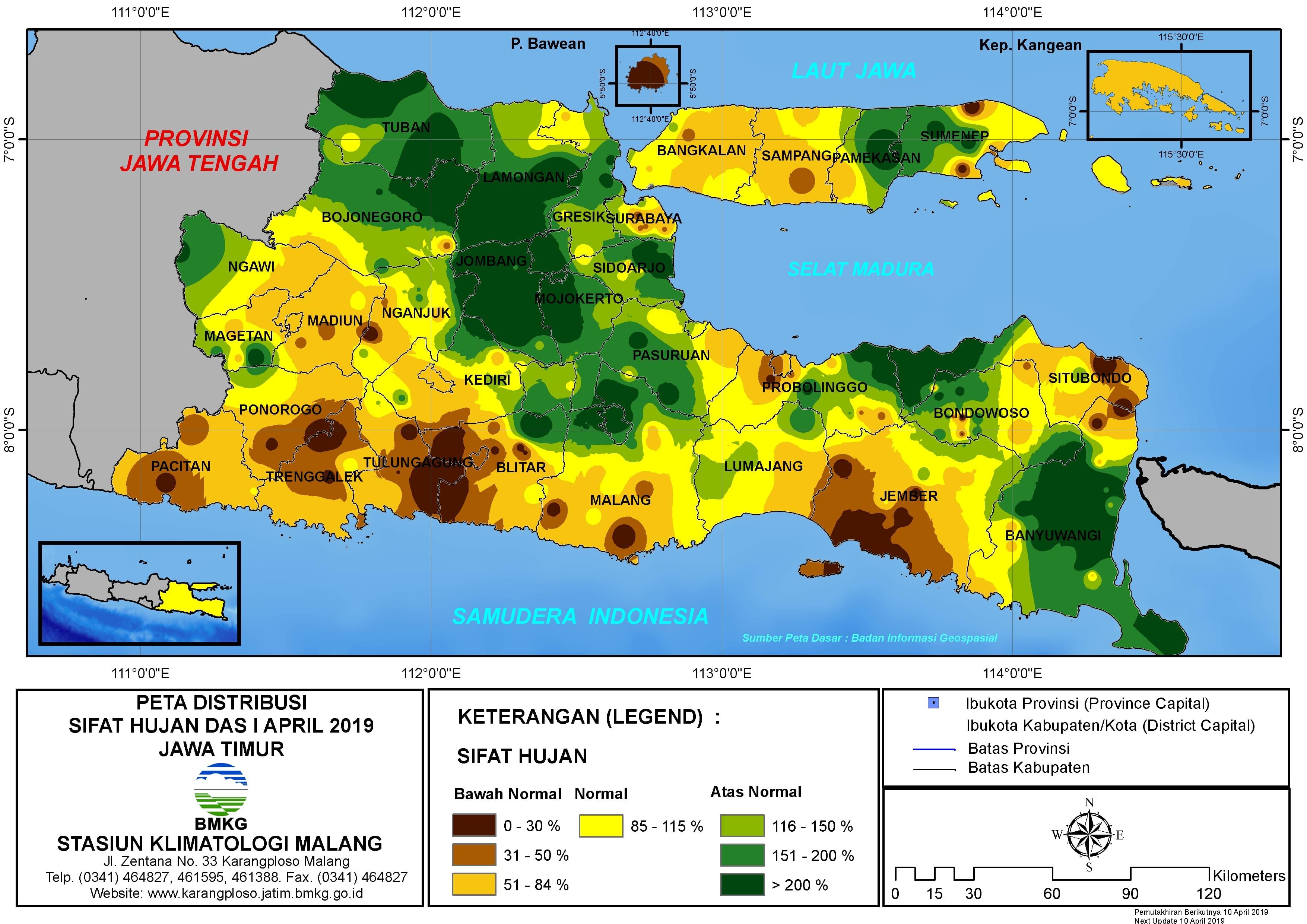 Peta Analisis Distribusi Sifat Hujan Dasarian I April 2019 di Provinsi Jawa Timur