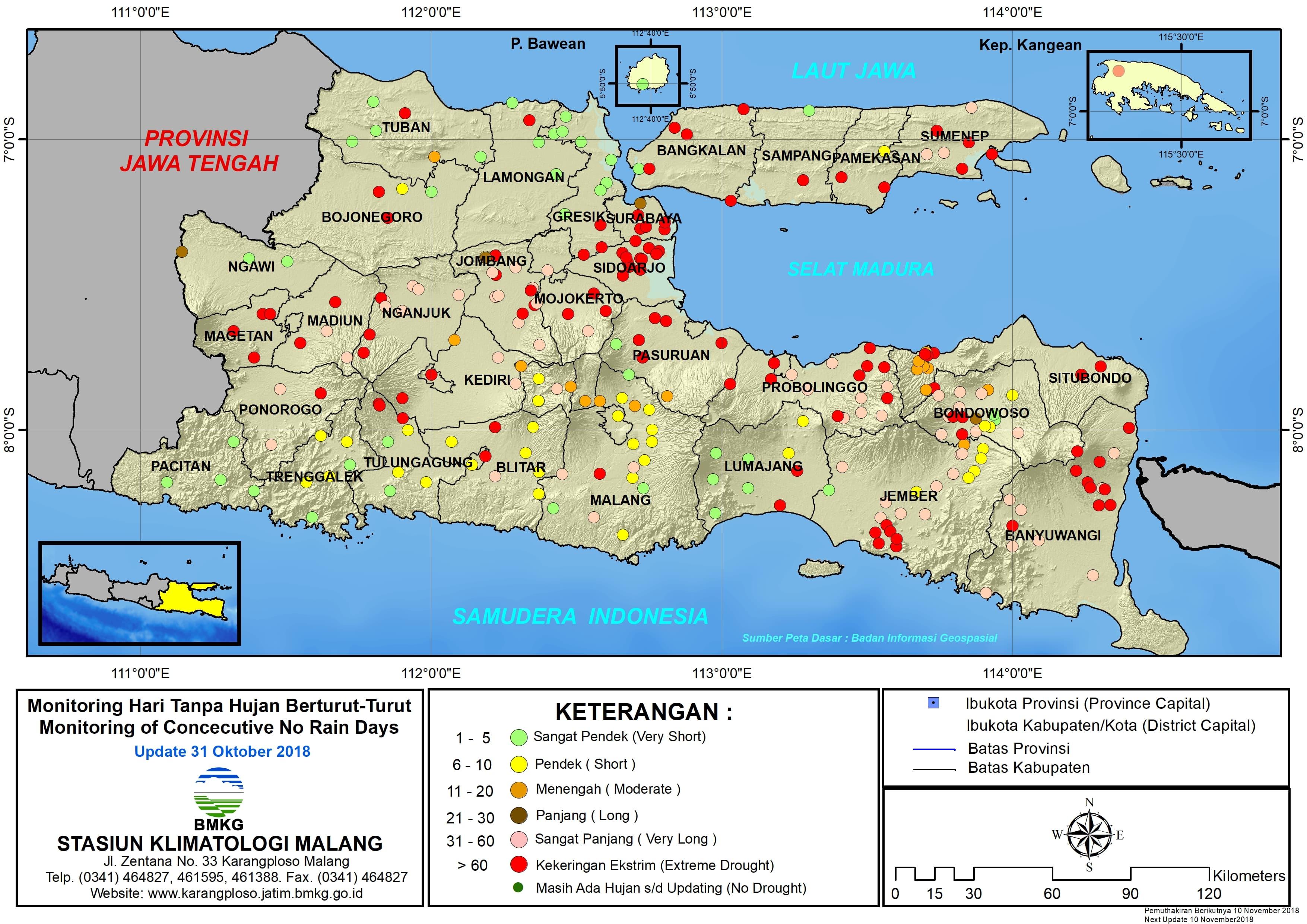 Monitoring Hari Tanpa Hujan Berturut-Turut Dasarian Update 31 Oktober 2018 di Provinsi Jawa Timur