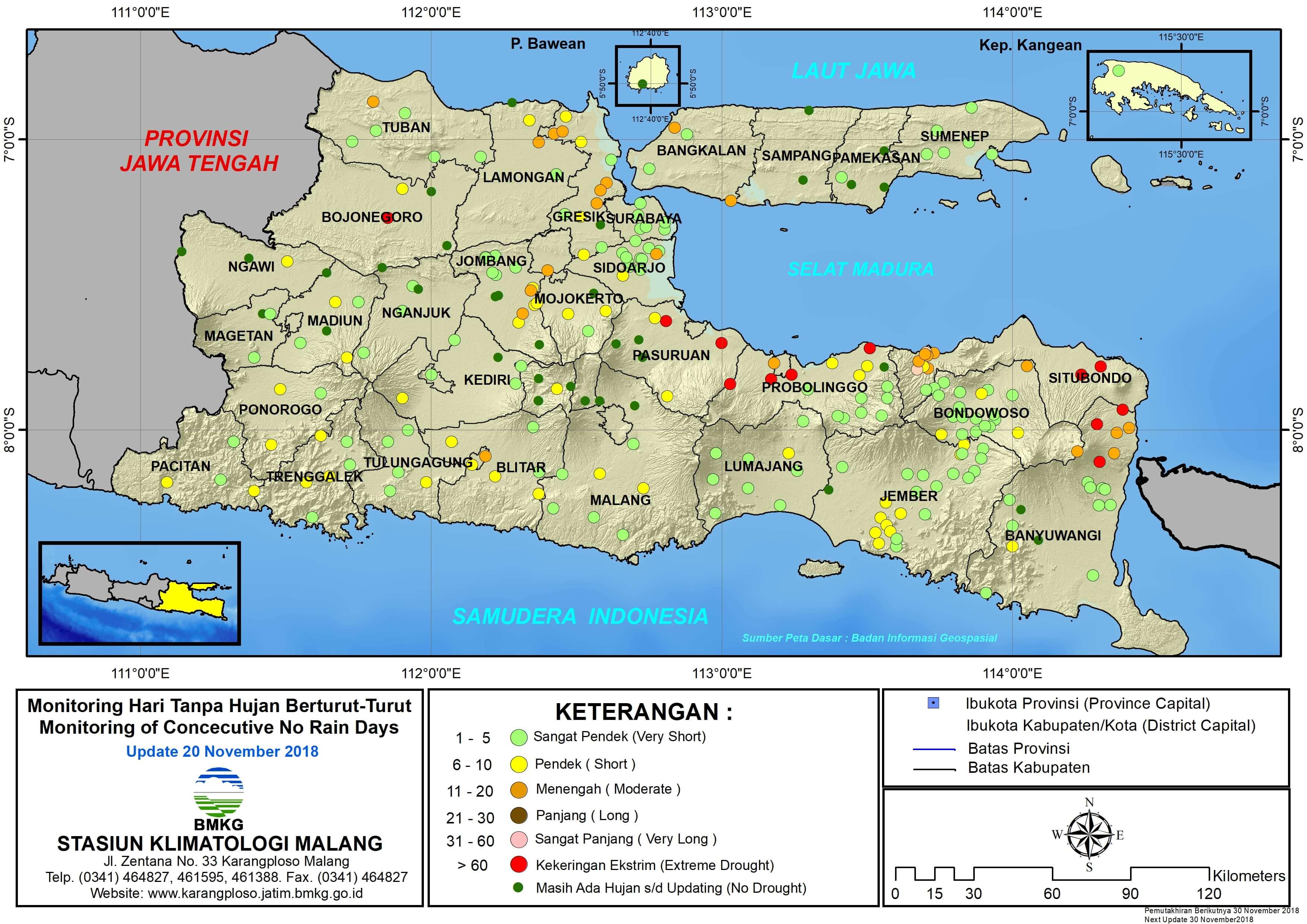 Peta Monitoring Hari Tanpa Hujan Berturut Turut Update 20 November 2018 di Provinsi Jawa Timur
