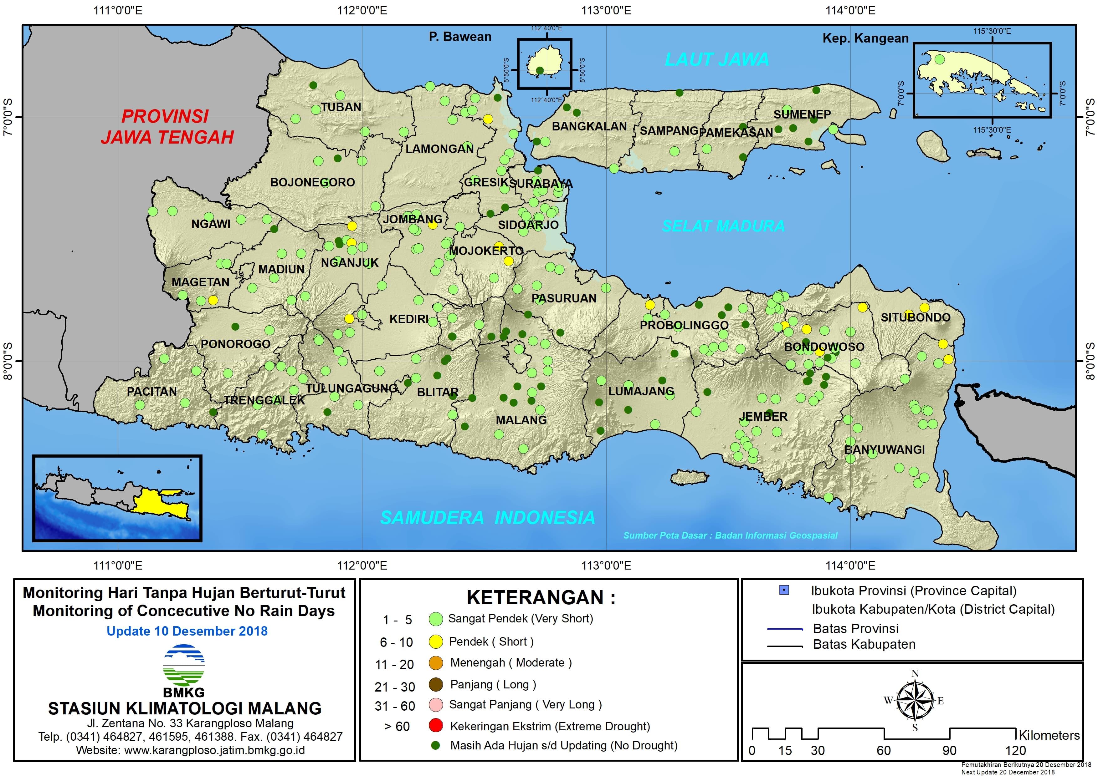 Peta Monitoring Hari Tanpa Hujan Berturut Turut Update 10 Desember 2018 di Provinsi Jawa Timur