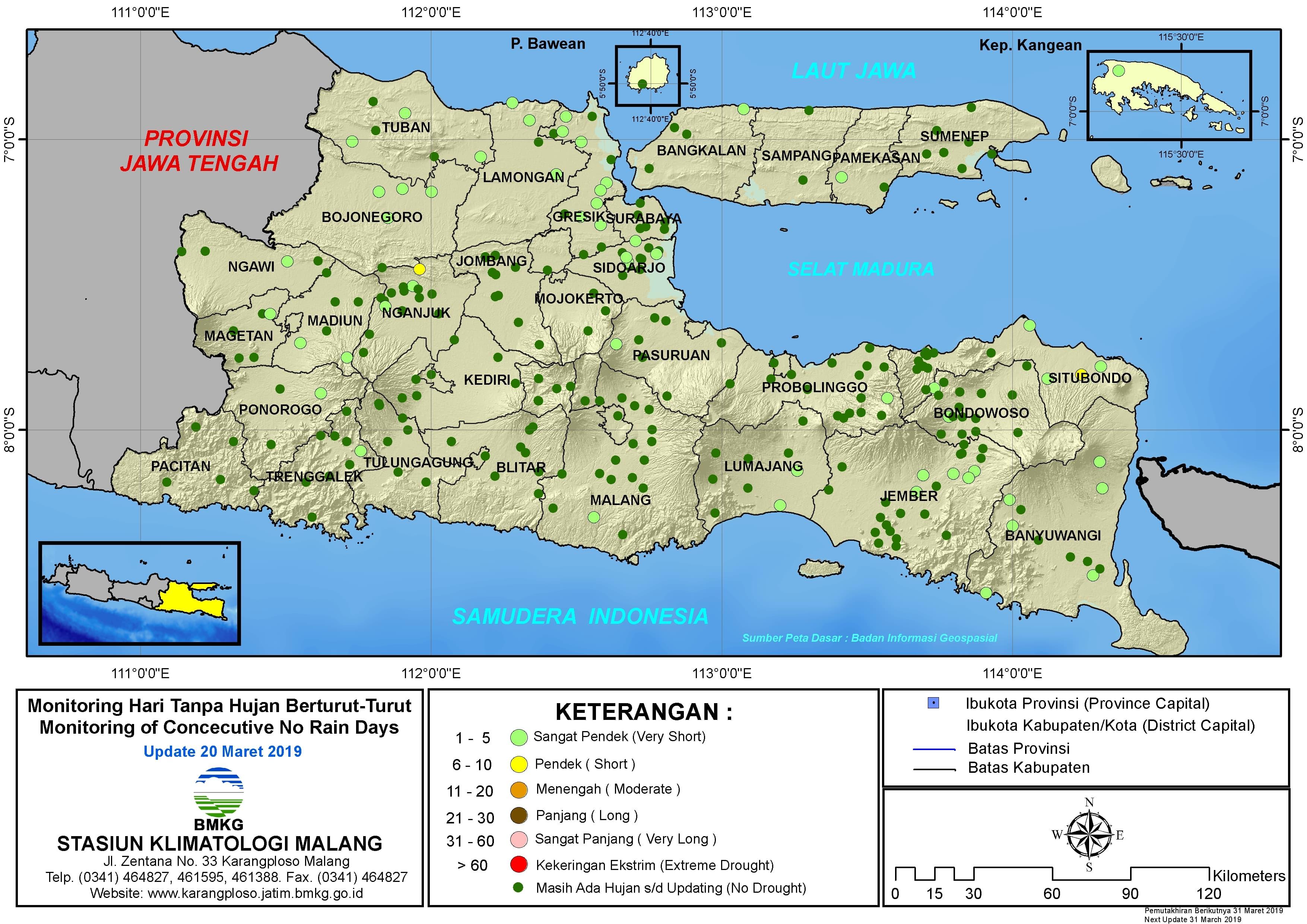 Peta Monitoring Hari Tanpa Hujan Berturut Turut Update 20 Maret 2019 di Provinsi Jawa Timur