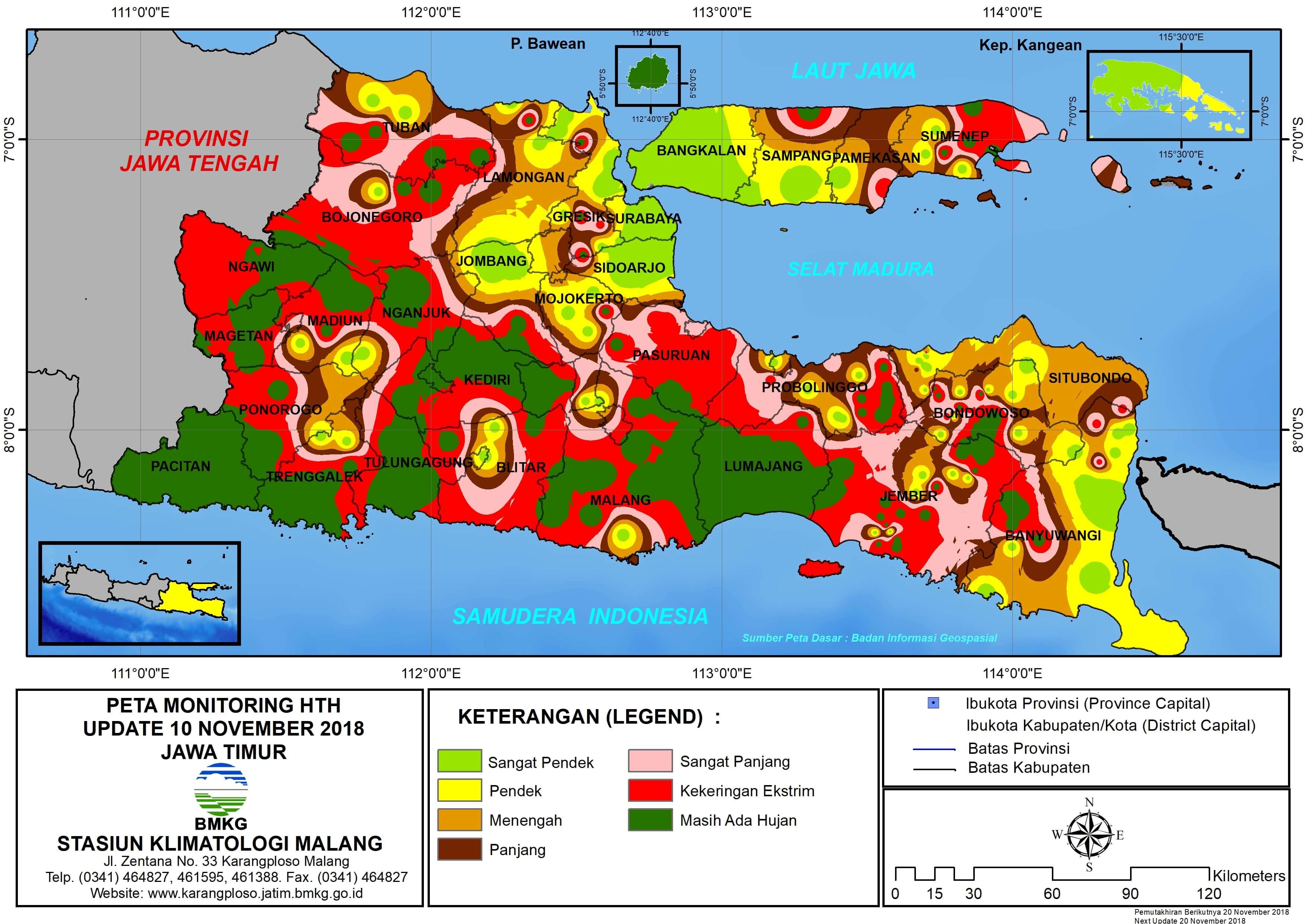 Monitoring Hari Tanpa Hujan Berturut-Turut Interpolasi Update 10 November 2018 di Provinsi Jawa Timur