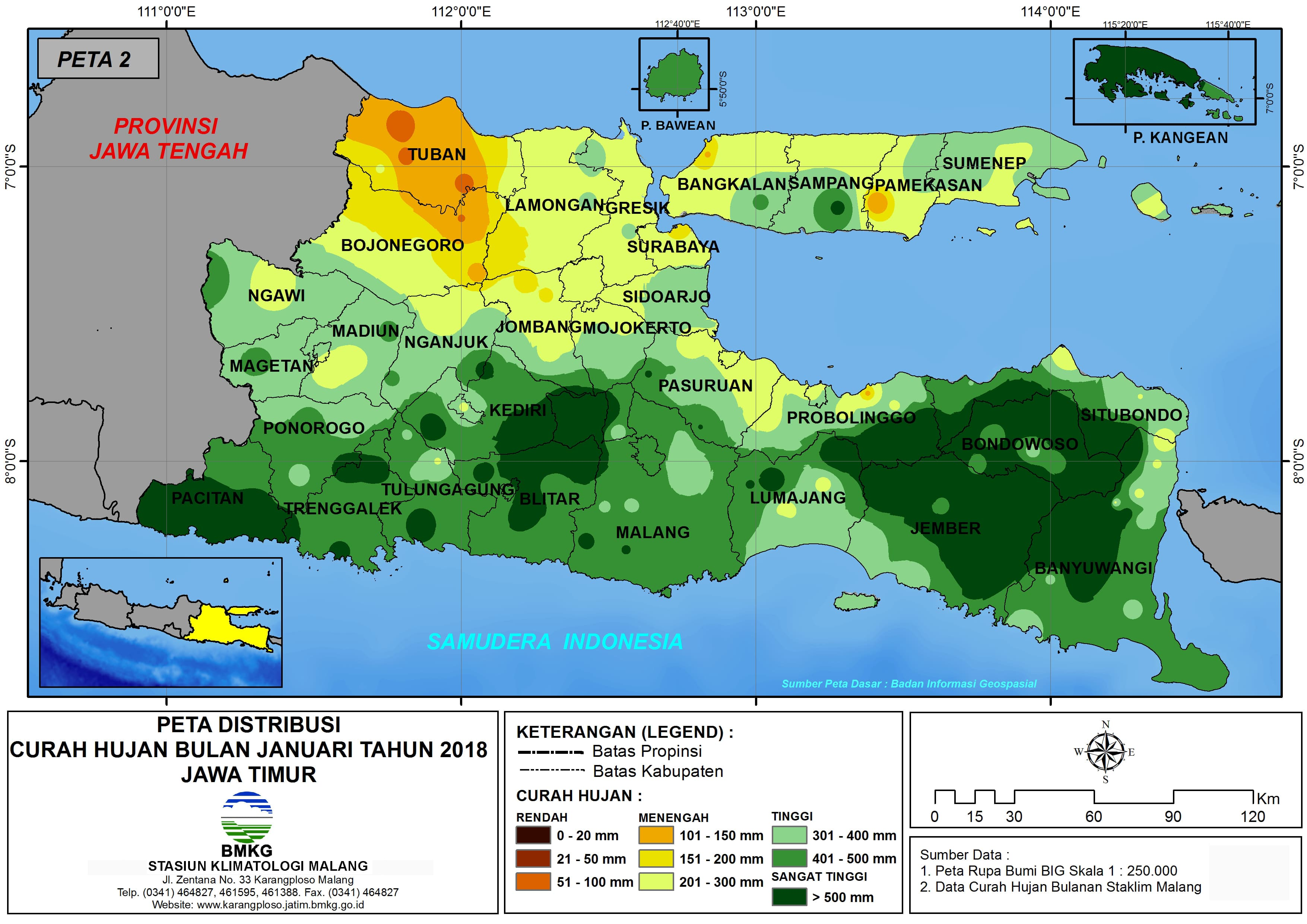 Analisis Distribusi Curah Hujan Bulan Januari Tahun 2018 di Propinsi Jawa Timur