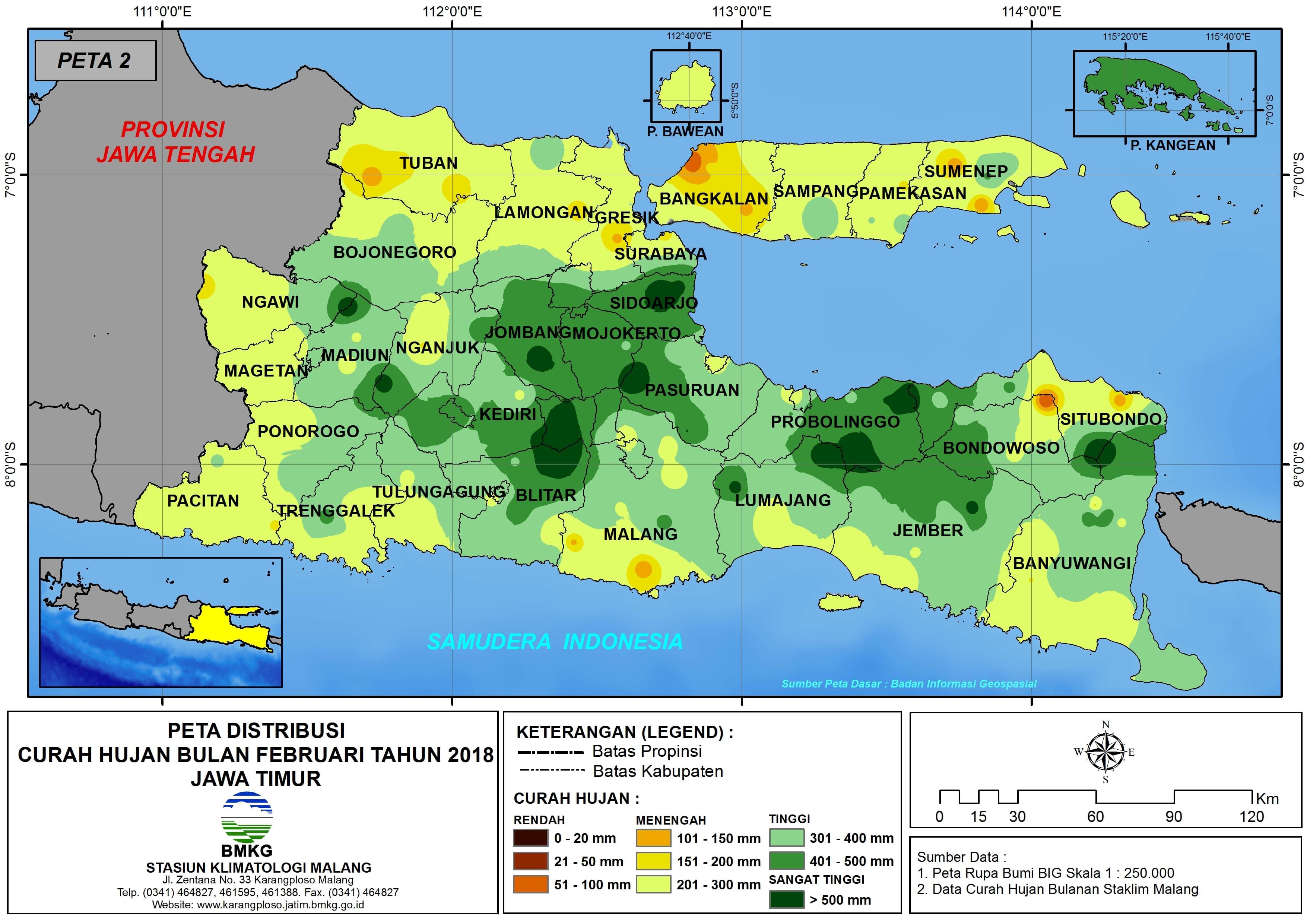 Analisis Distribusi Curah Hujan Bulan Februari Tahun 2018 di Propinsi Jawa Timur