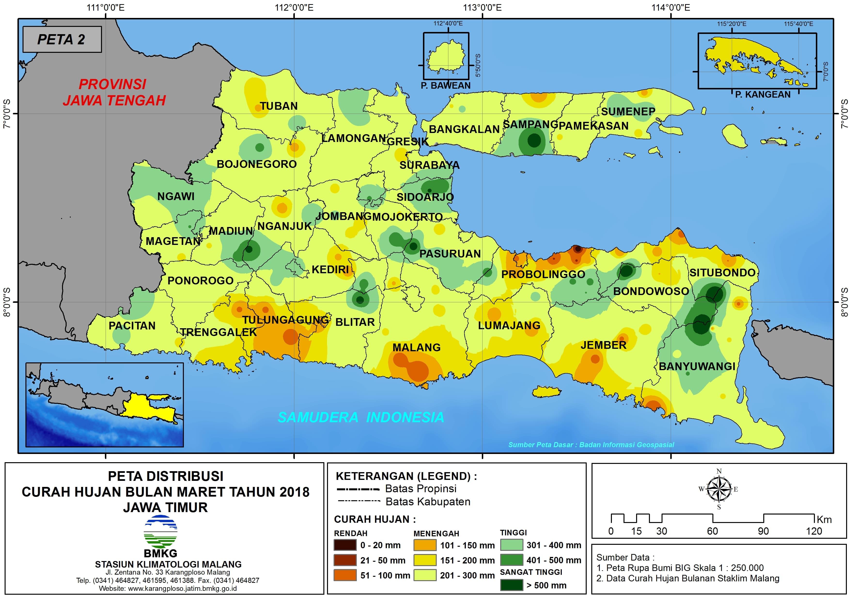 Analisis Distribusi Curah Hujan Bulan Maret Tahun 2018 di Propinsi Jawa Timur