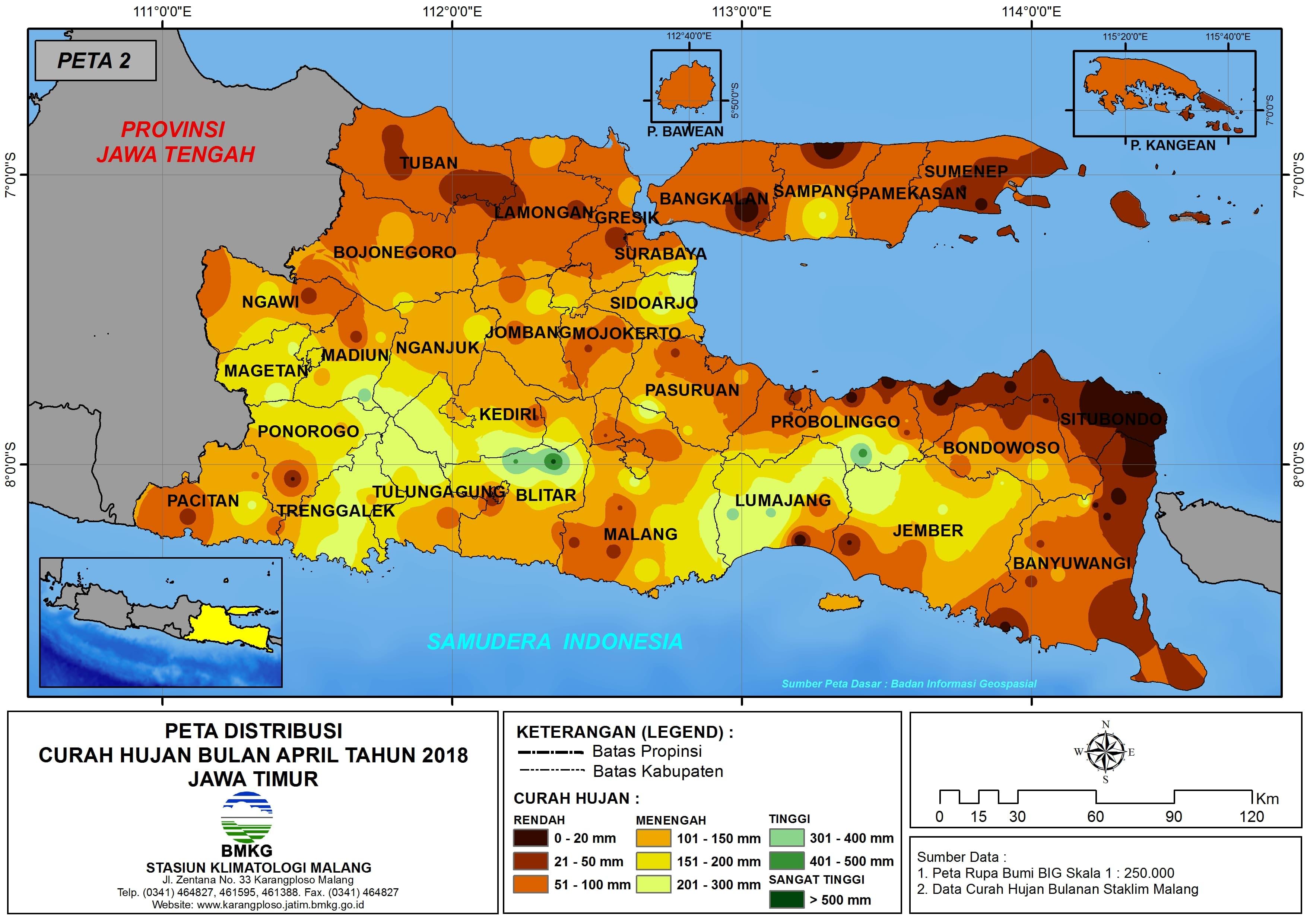 Analisis Distribusi Curah Hujan Bulan April Tahun 2018 di Propinsi Jawa Timur