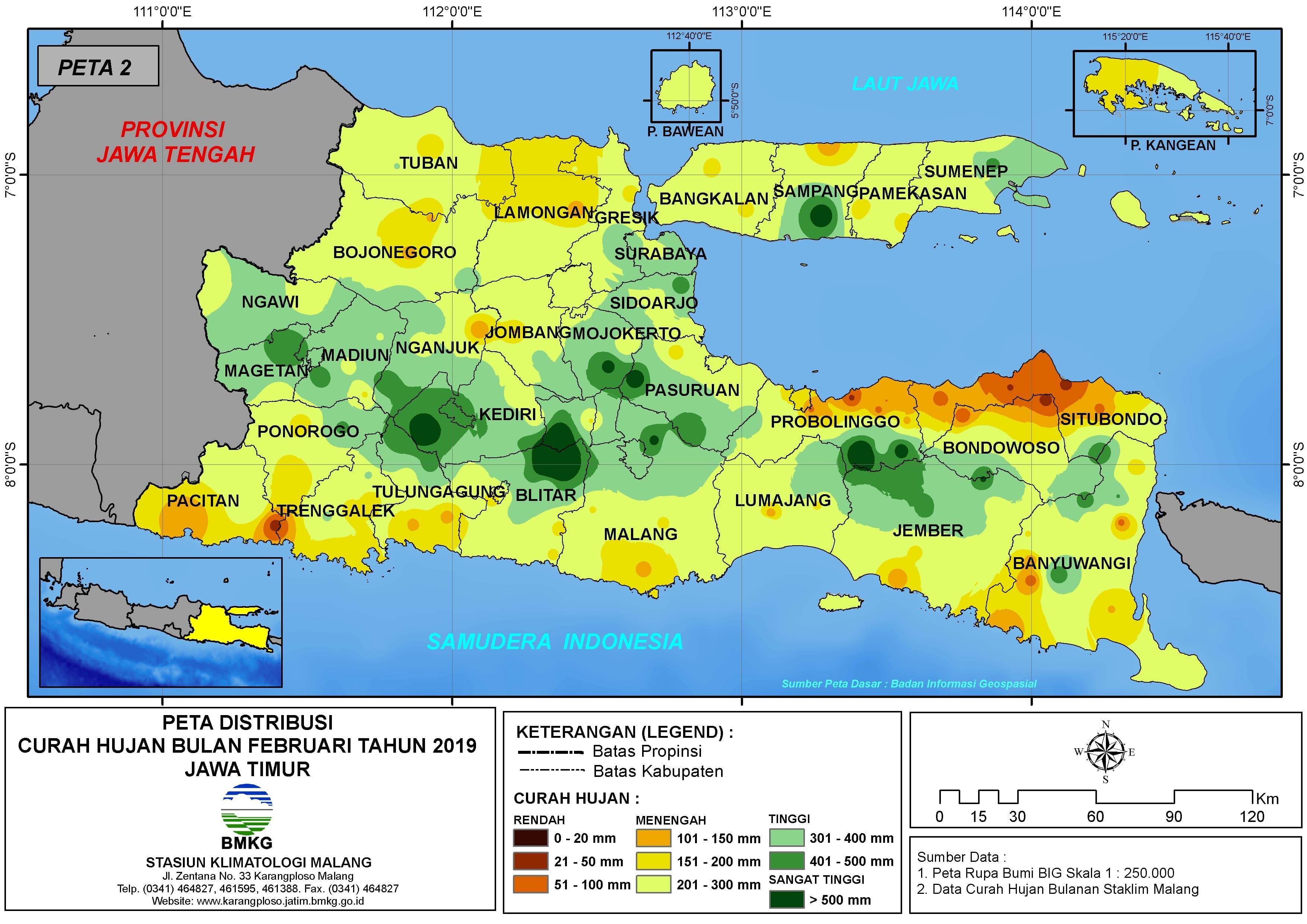 Analisis Distribusi Curah Hujan Bulan Februari Tahun 2019 di Provinsi Jawa Timur
