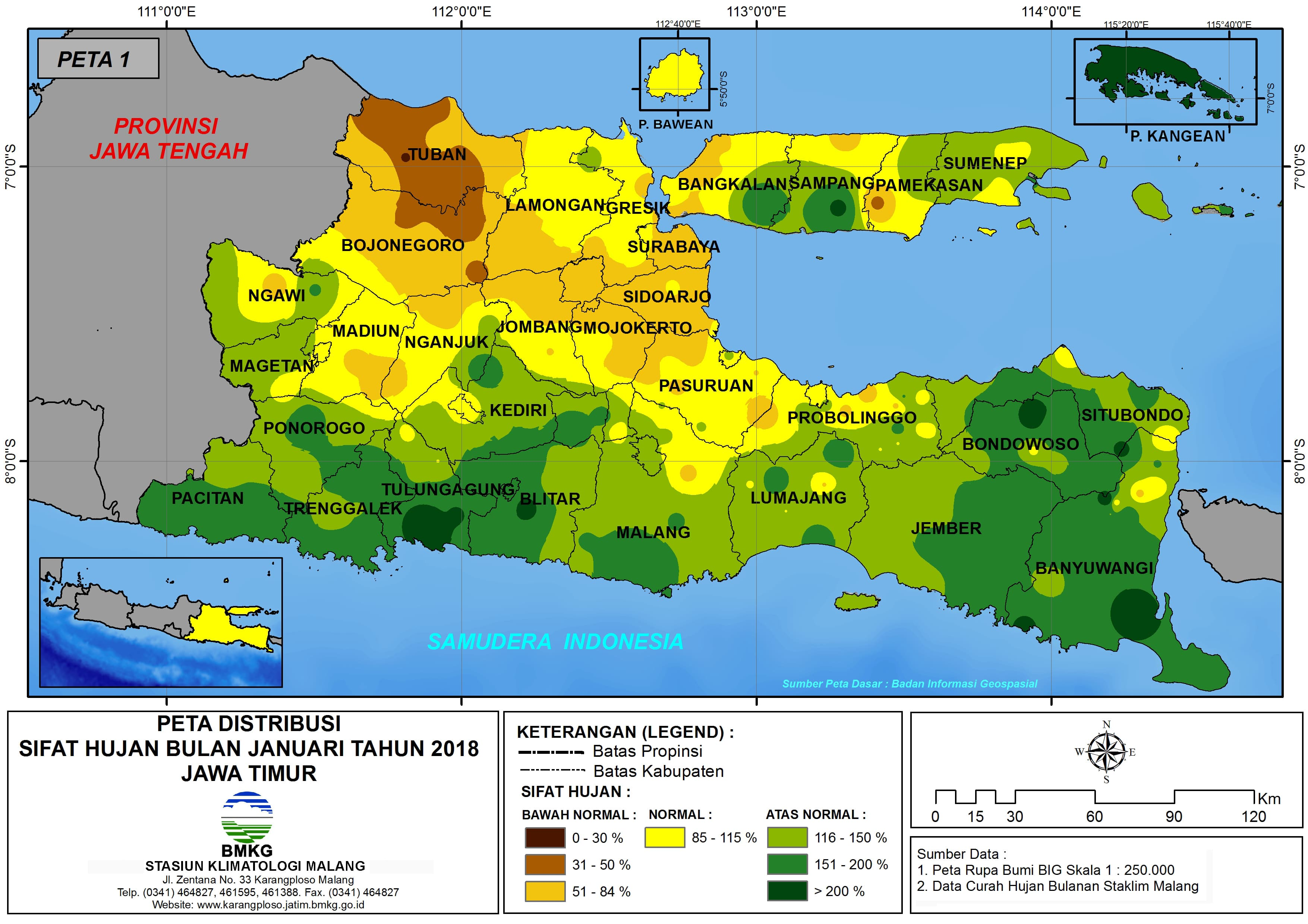 Analisis Distribusi Sifat Hujan Bulan Januari Tahun 2018 di Propinsi Jawa Timur