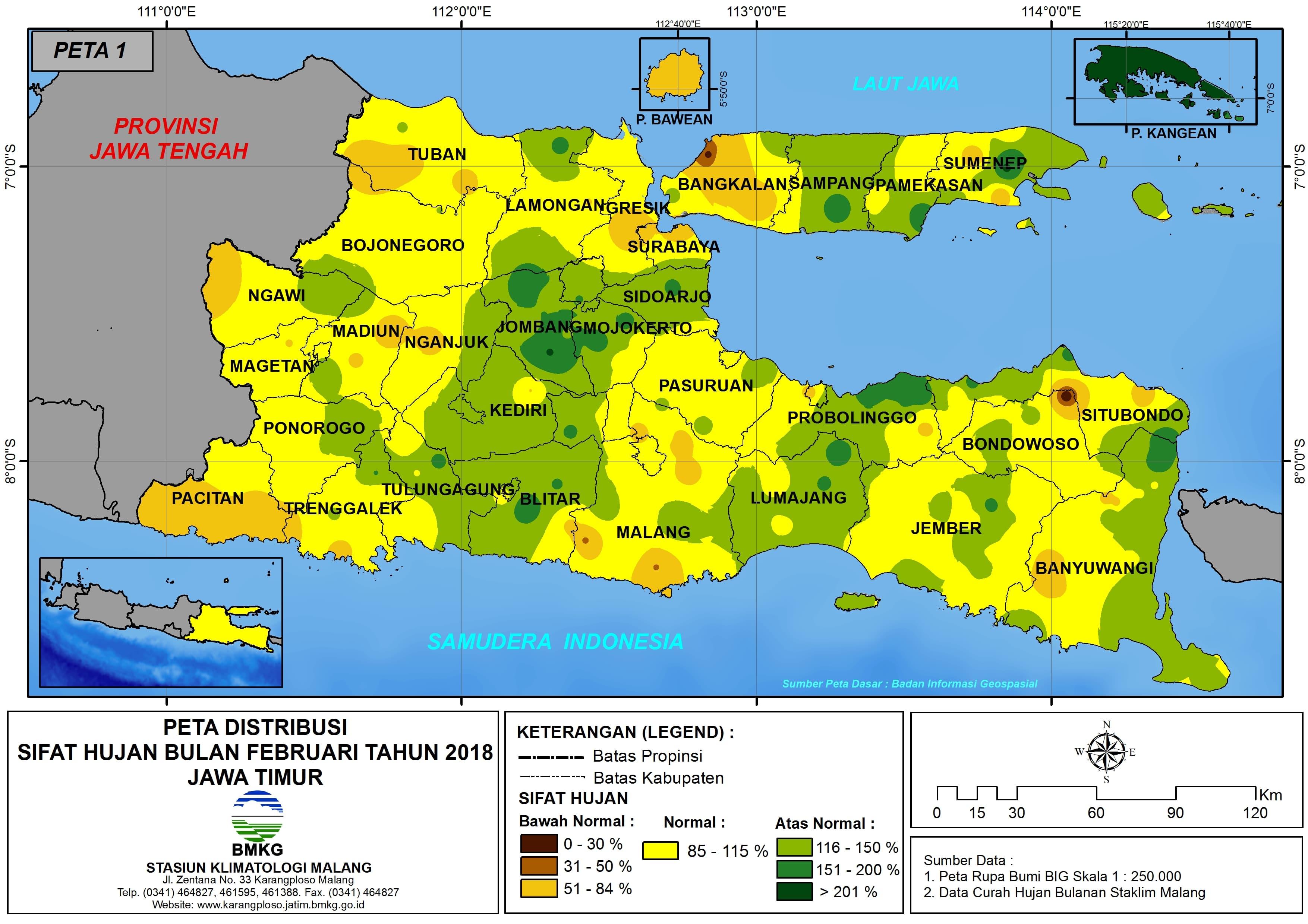 Analisis Distribusi Sifat Hujan Bulan Februari Tahun 2018 di Propinsi Jawa Timur