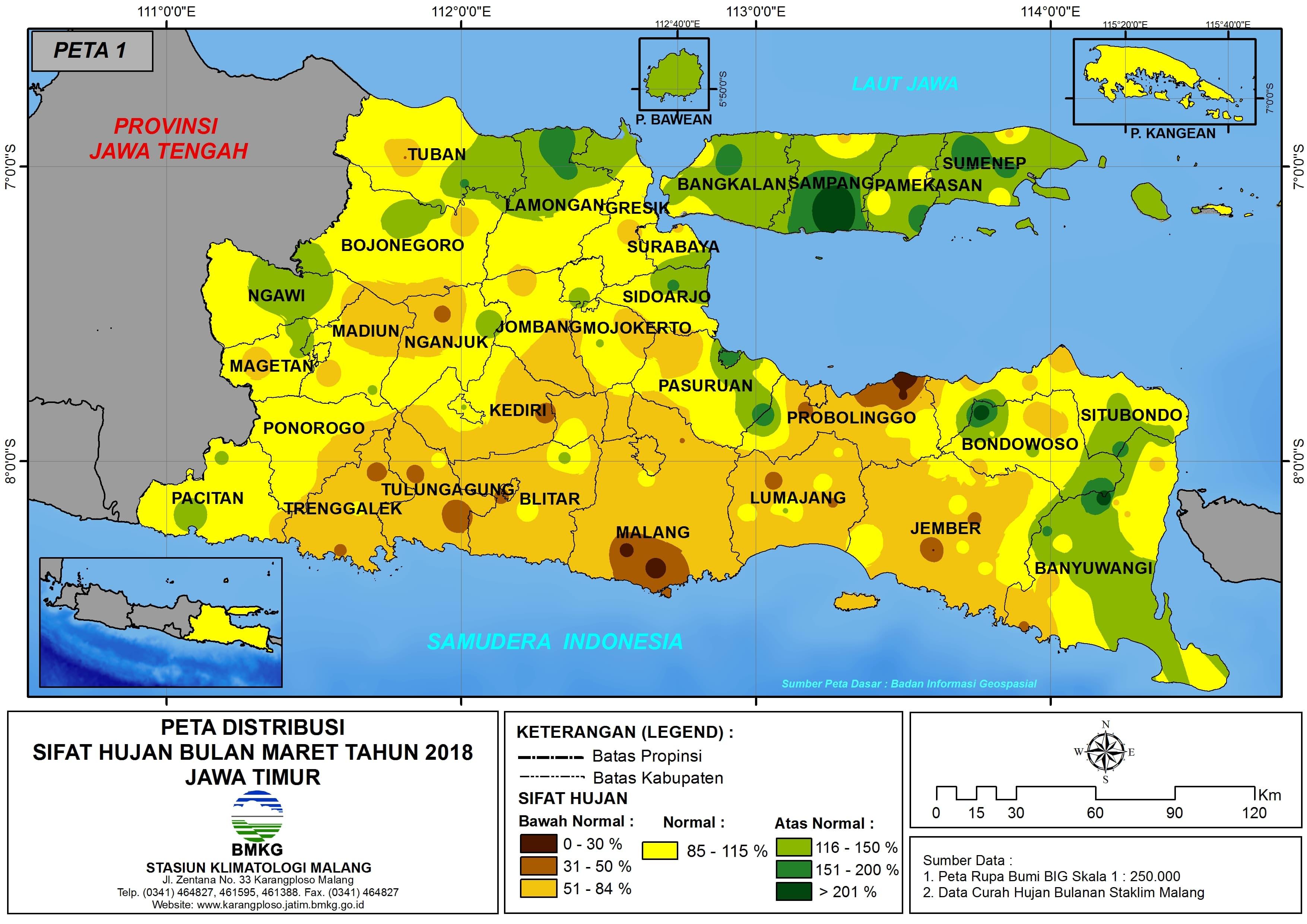 Analisis Distribusi Sifat Hujan Bulan Maret Tahun 2018 di Propinsi Jawa Timur