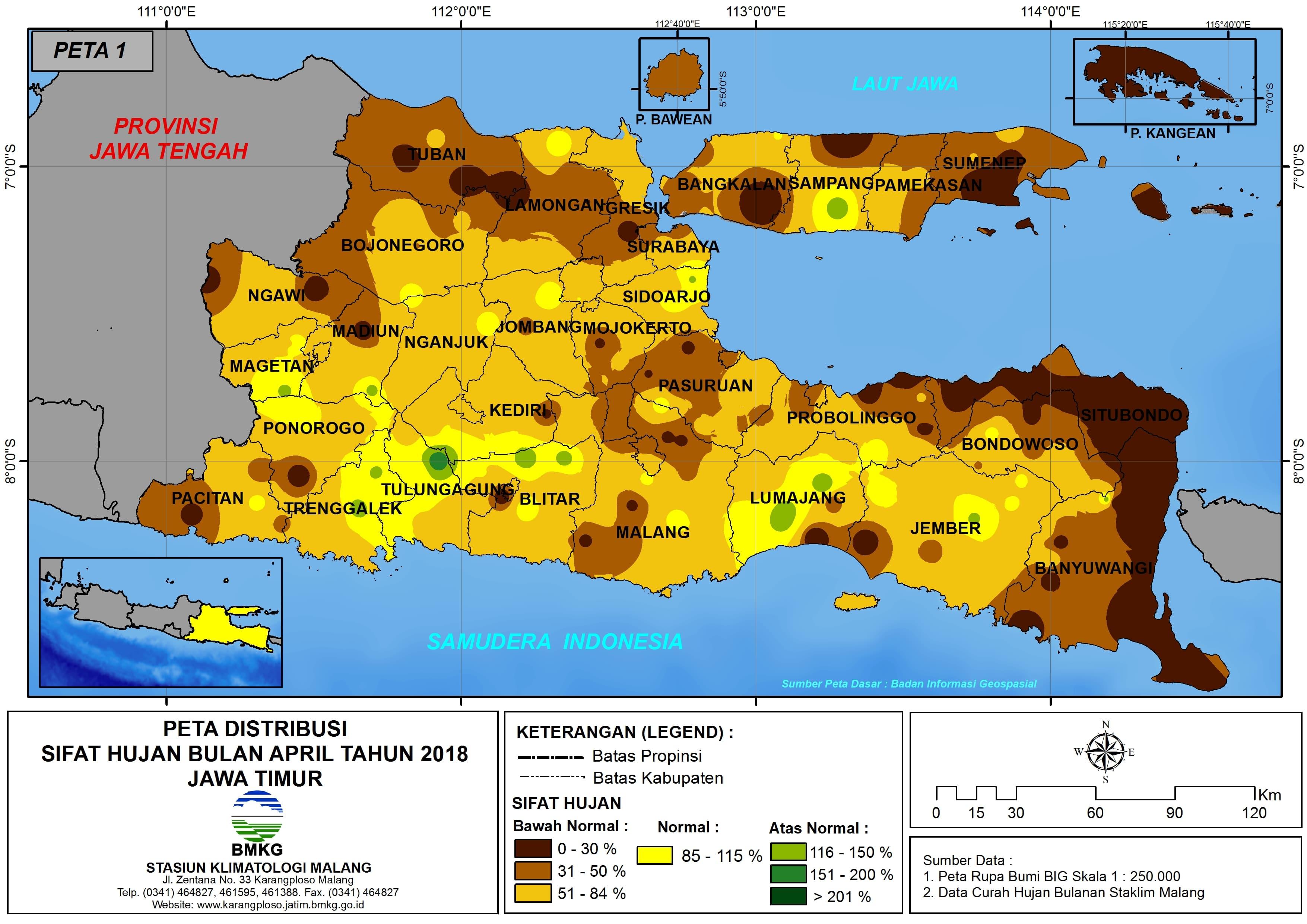 Analisis Distribusi Sifat Hujan Bulan April Tahun 2018 di Propinsi Jawa Timur
