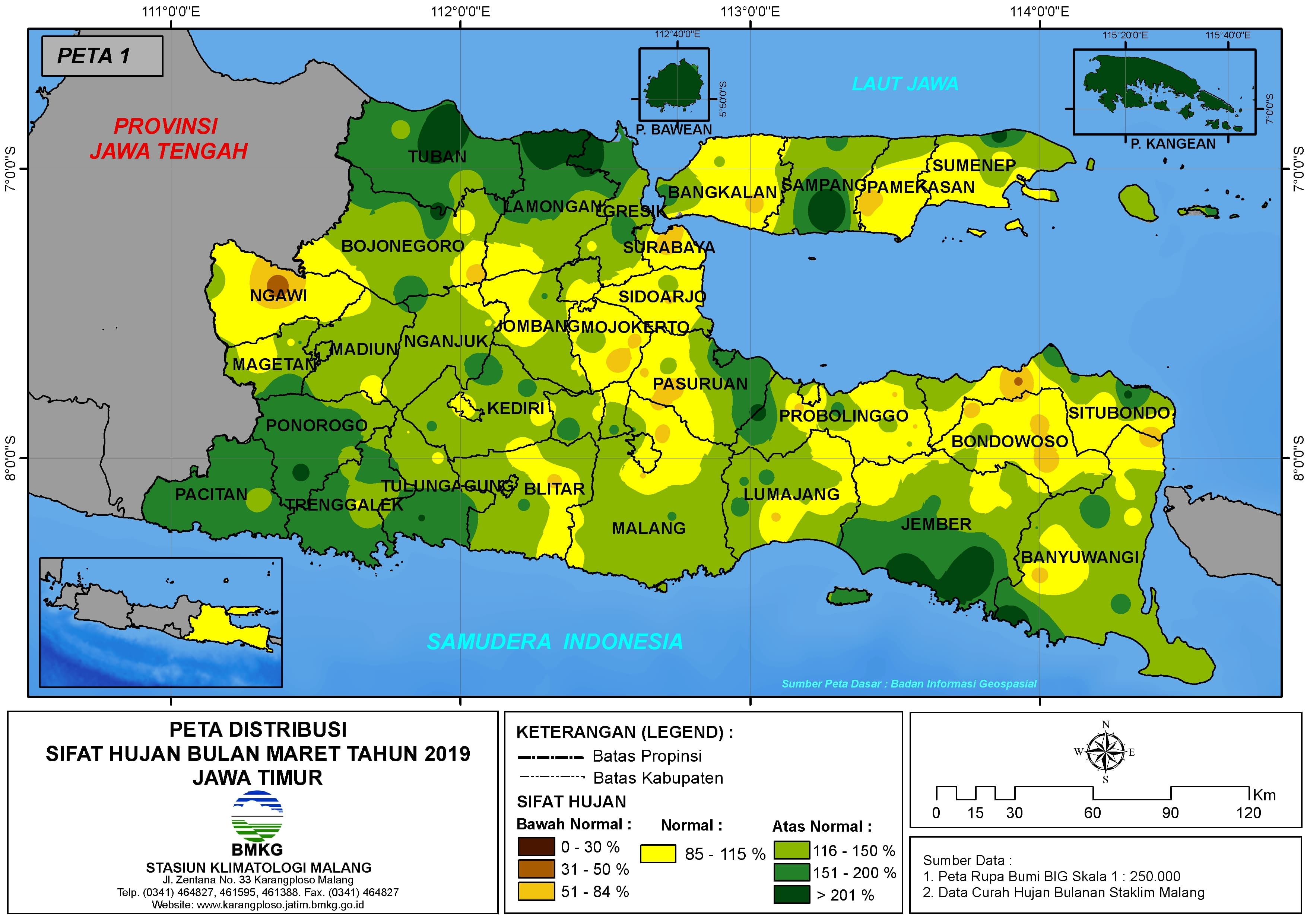 Analisis Bulanan Distribusi Sifat Hujan Bulan Maret Tahun 2019 di Provinsi Jawa Timur