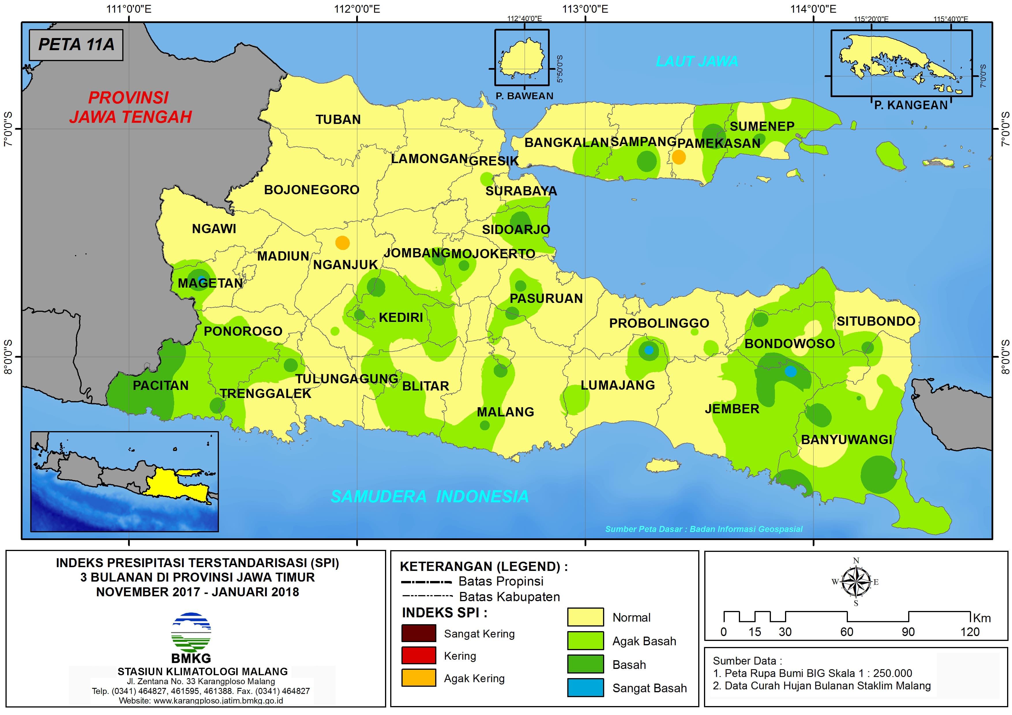 Analisis Indeks Presipitasi Terstandarisasi (SPI) 3 Bulanan Untuk Bulan November Desember Tahun 2017 Januari Tahun 2018 di Provinsi Jawa Timur