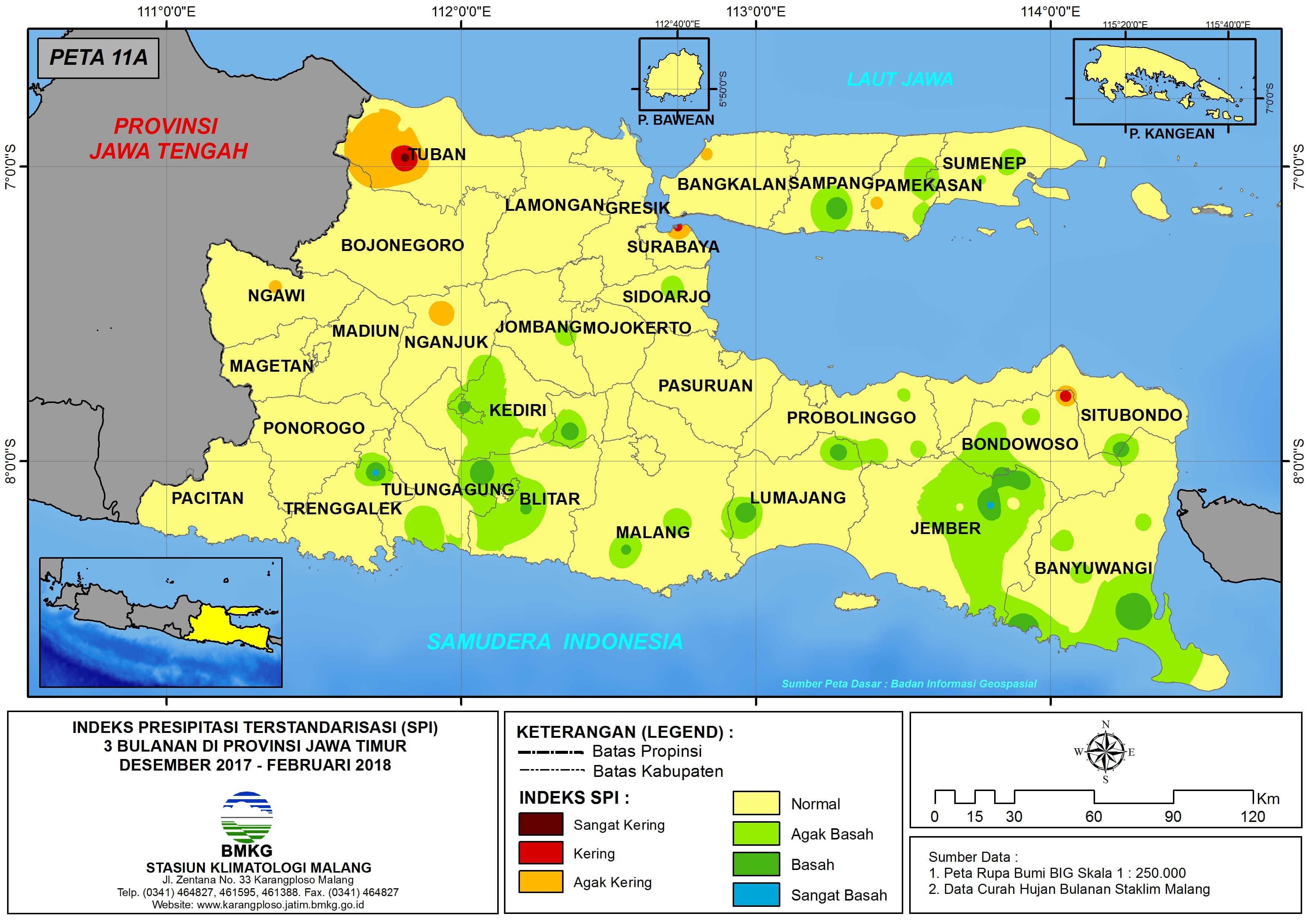 Analisis Indeks Presipitasi Terstandarisasi (SPI) 3 Bulanan Untuk Bulan Desember Tahun 2017 Januari Februari Tahun 2018 di Provinsi Jawa Timur