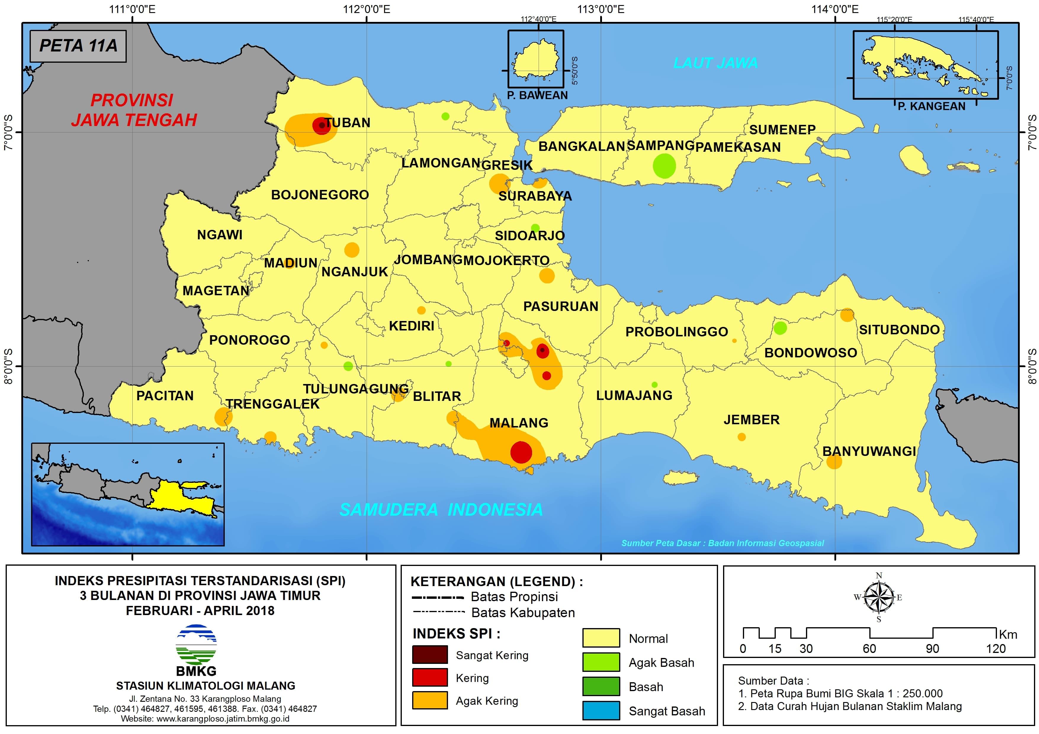 Analisis Indeks Presipitasi Terstandarisasi (SPI) 3 Bulanan Untuk Bulan Februari Maret April Tahun 2018 di Provinsi Jawa Timur