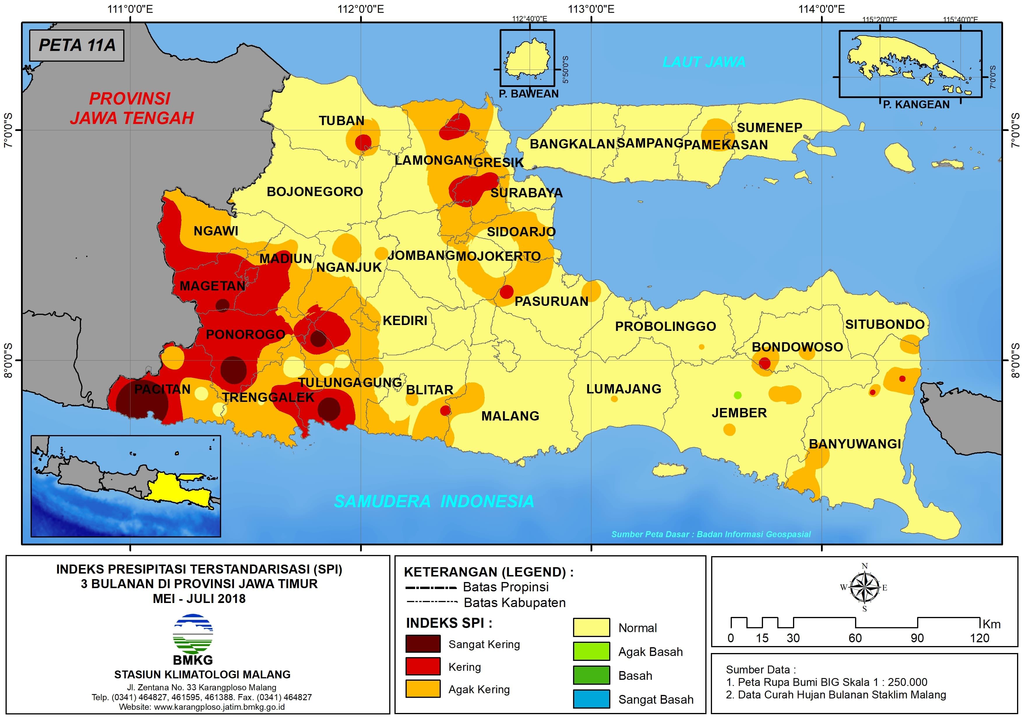 Analisis Indeks Presipitasi Terstandarisasi SPI 3 Bulanan Untuk Bulan Mei Juni Juli Tahun 2018 di Provinsi Jawa Timur