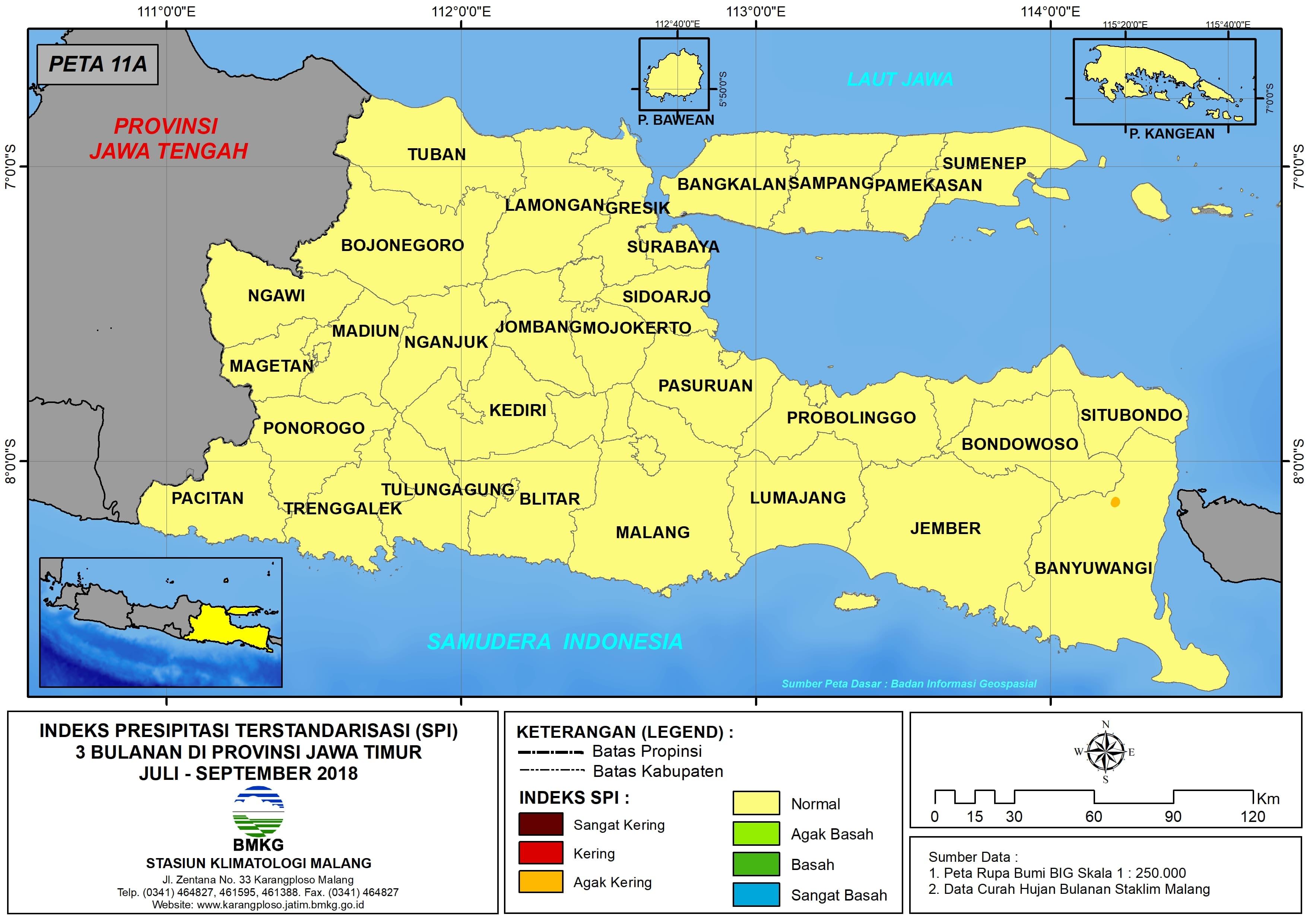 Analisis Indeks Presipitasi Terstandarisasi SPI 3 Bulanan Untuk Bulan Juli Agustus September Tahun 2018 di Provinsi Jawa Timur